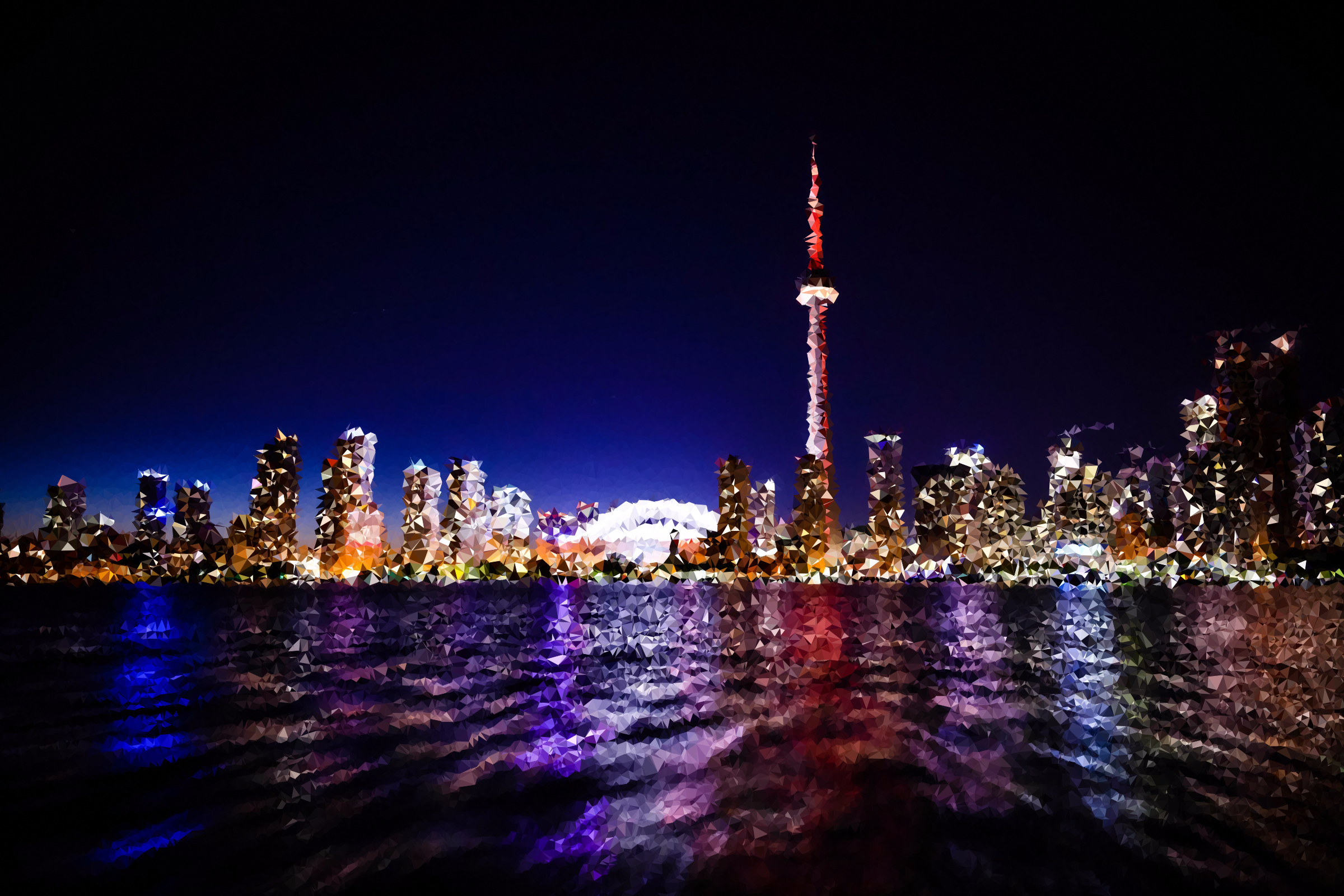High Poly Toronto Skyline At Night by GDJ