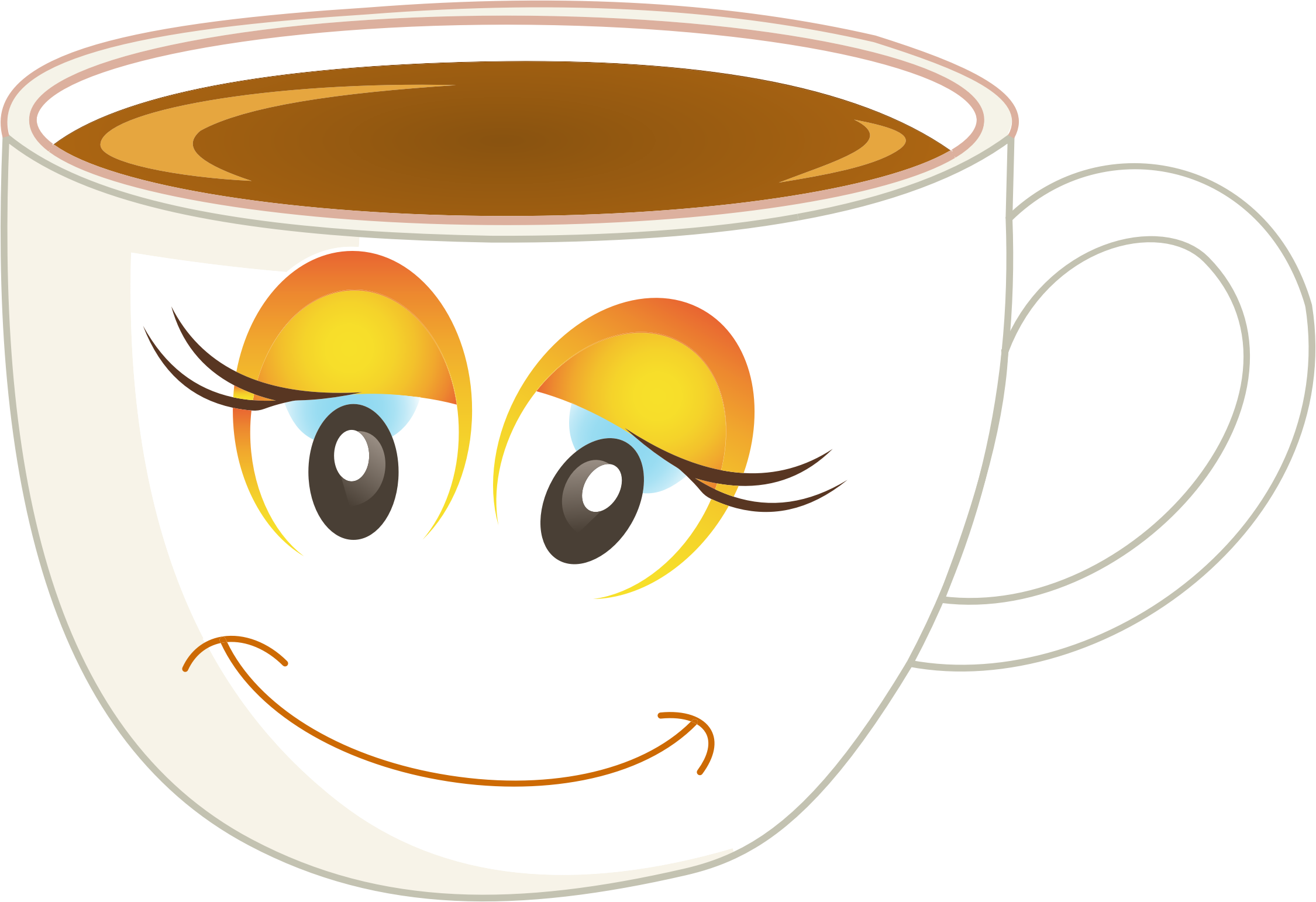 Anthropomorphic Happy Female Cup Of Coffee Or Tea Redrawn by GDJ