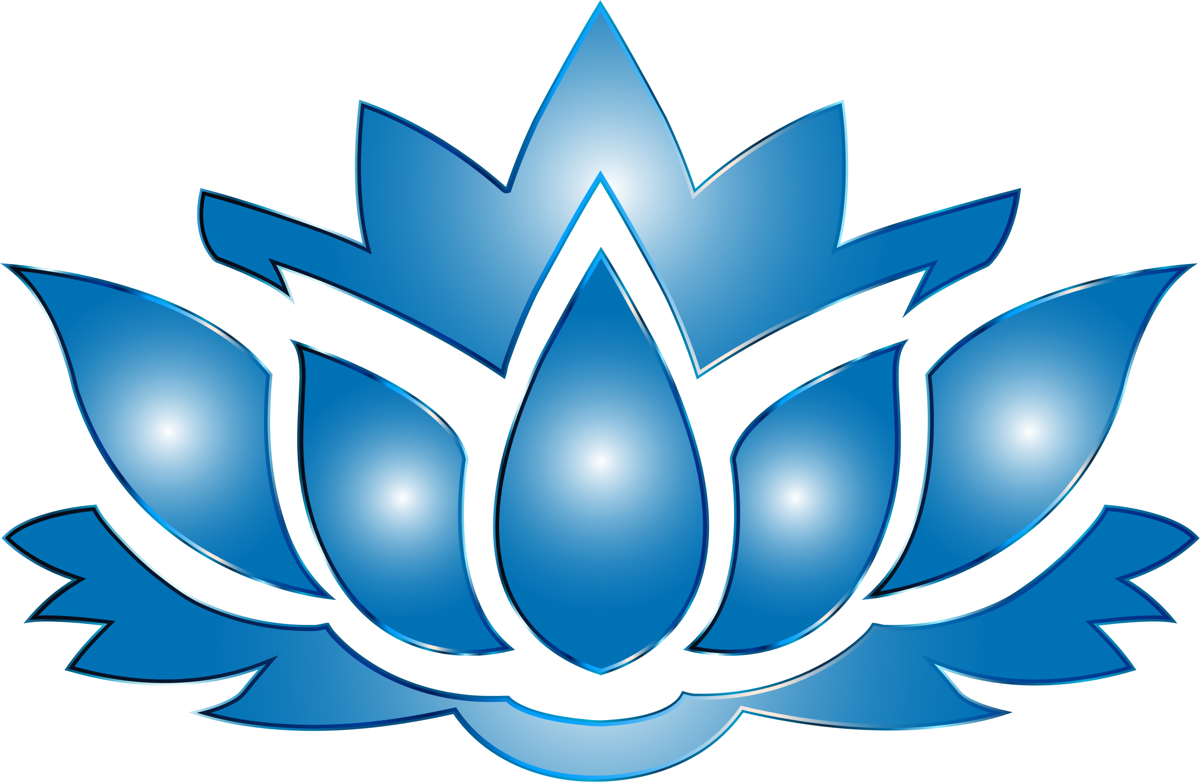 Ultramarine Lotus Flower Silhouette No Background by GDJ