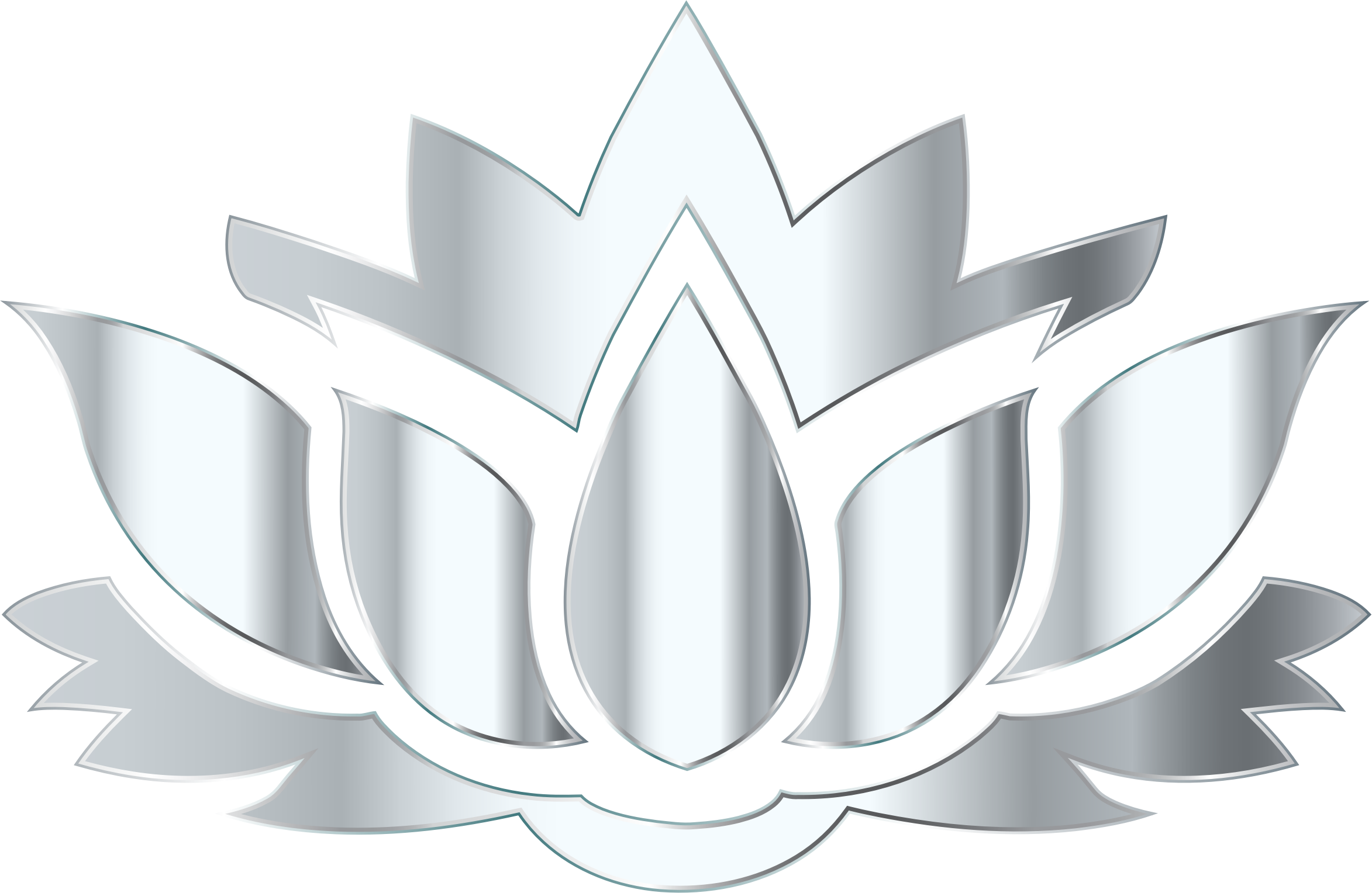 Clipart Silver Lotus Flower Silhouette No Background
