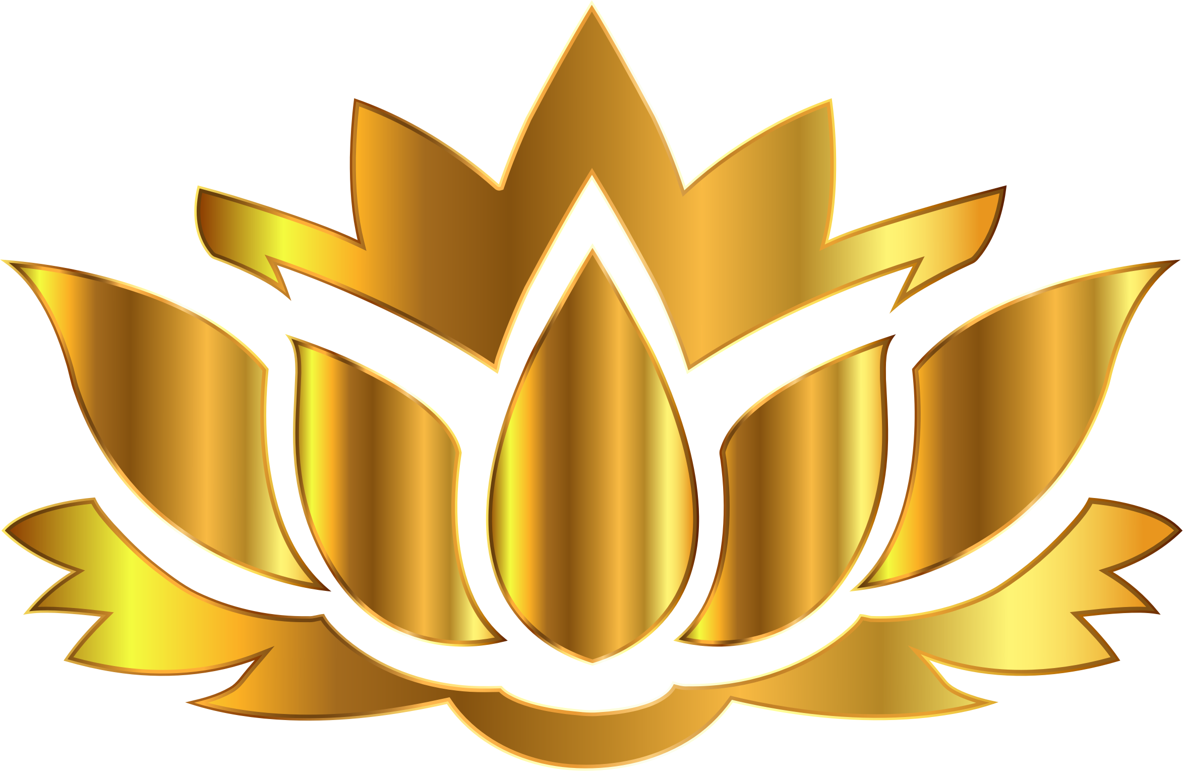 Gold Lotus Flower Silhouette No Background by GDJ