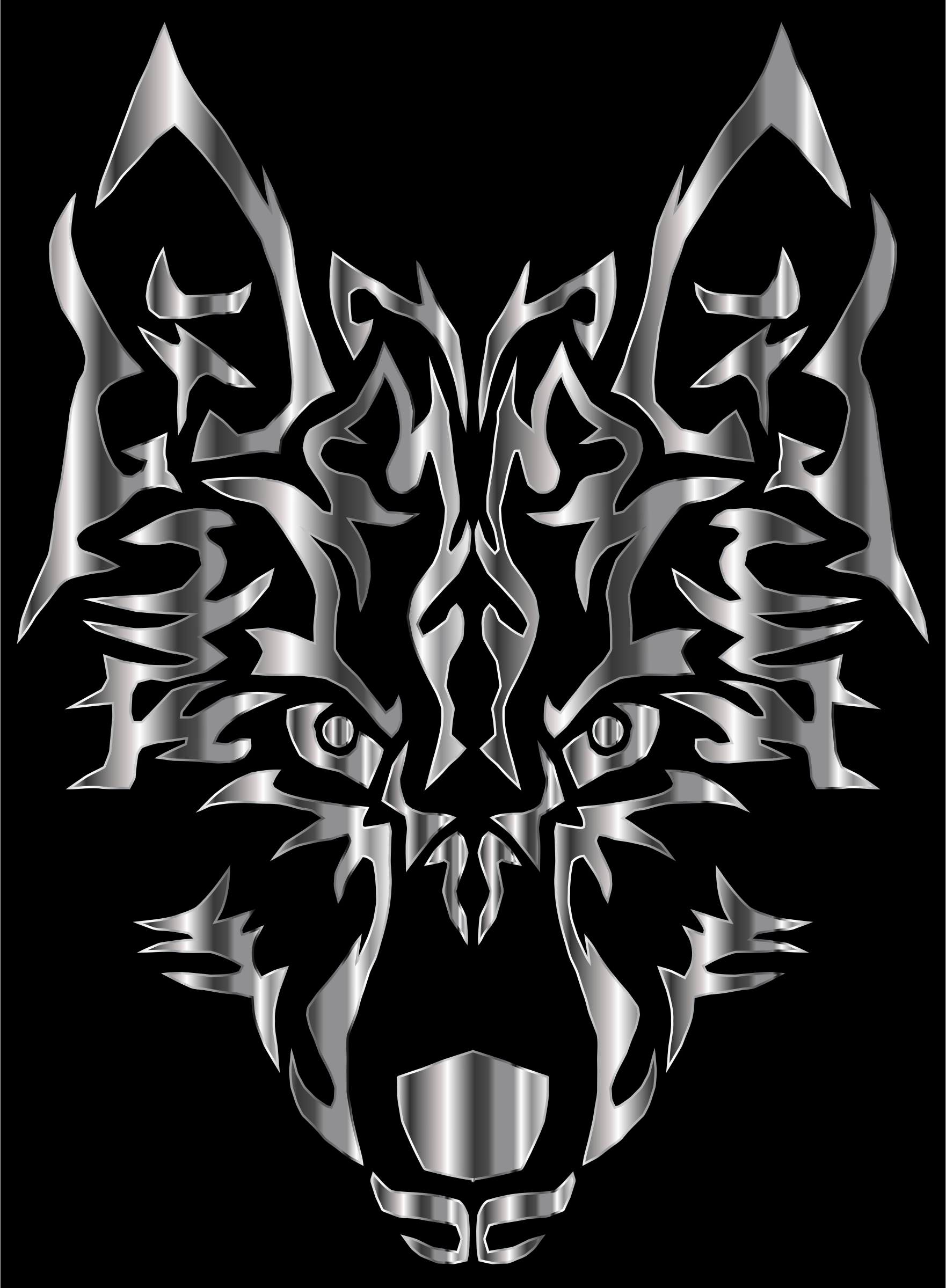 Steel Symmetric Tribal Wolf by GDJ