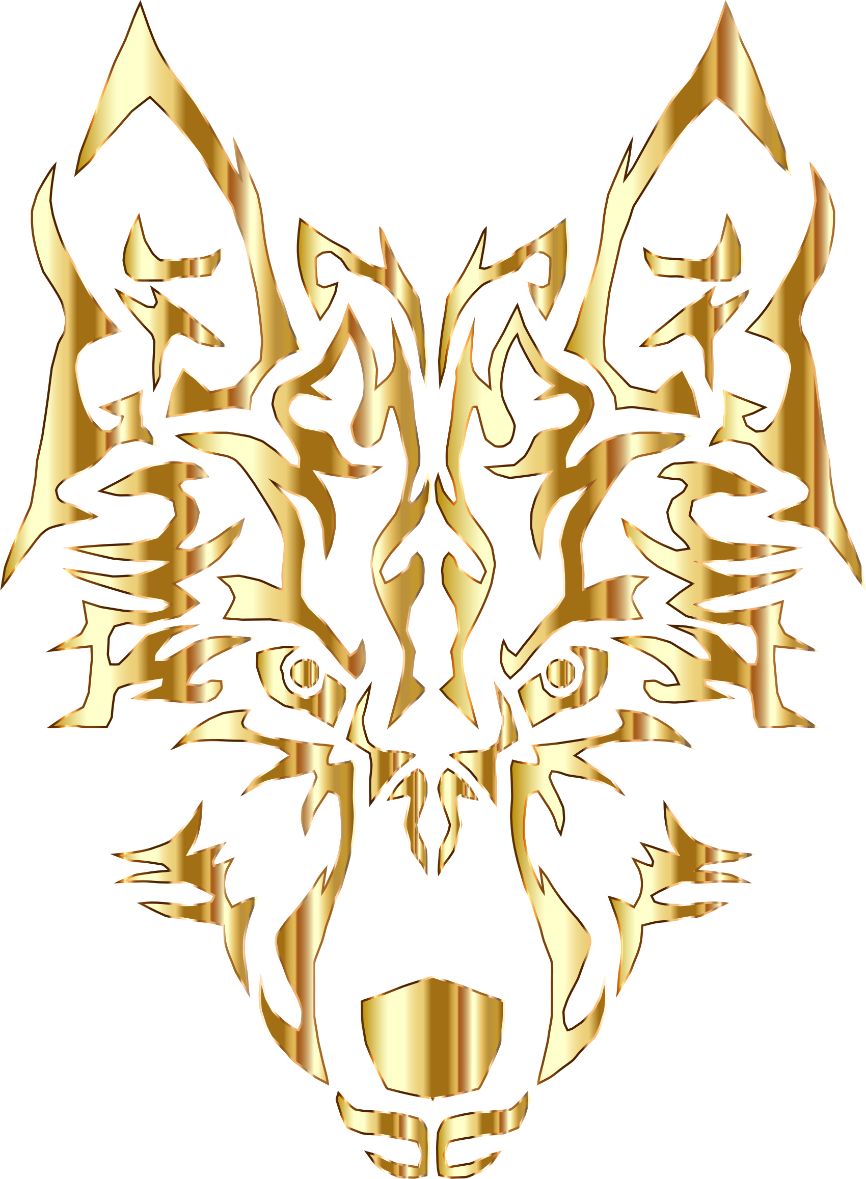 Gold Symmetric Tribal Wolf No Background by GDJ