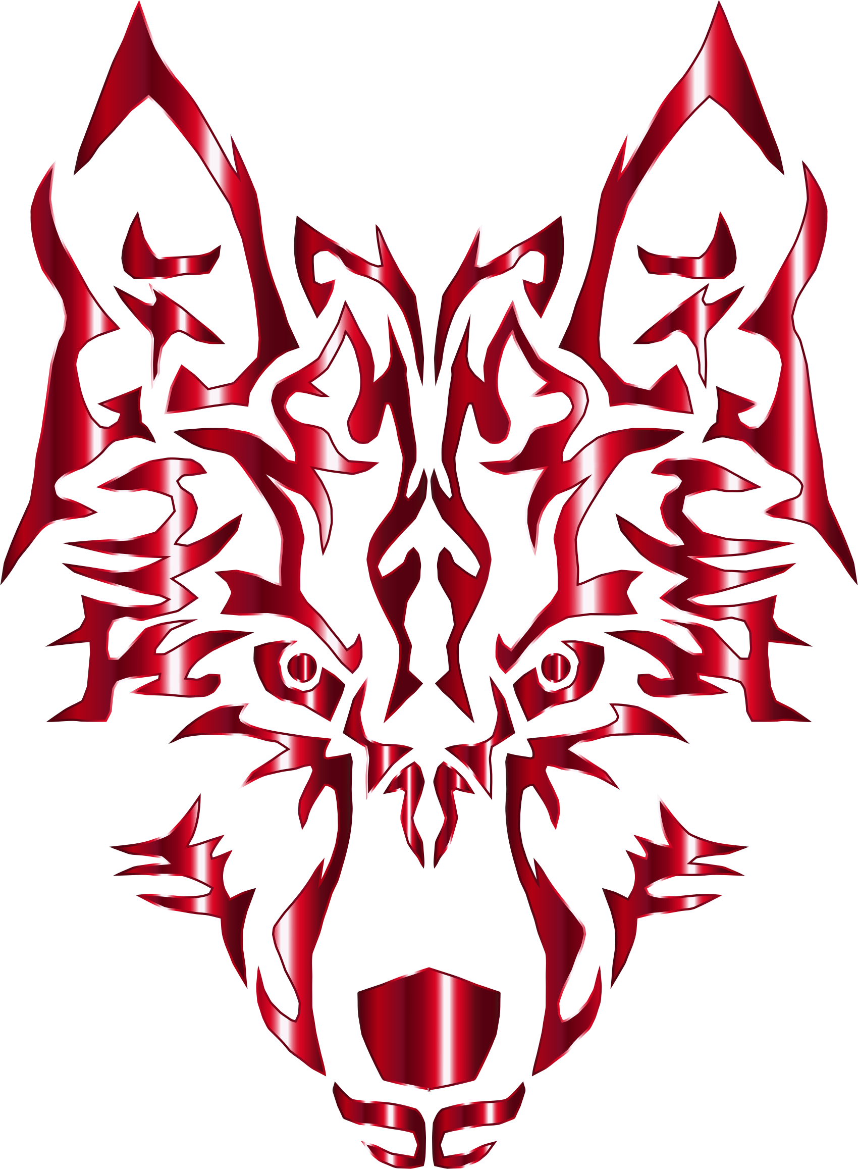 Crimson Symmetric Tribal Wolf No Background by GDJ