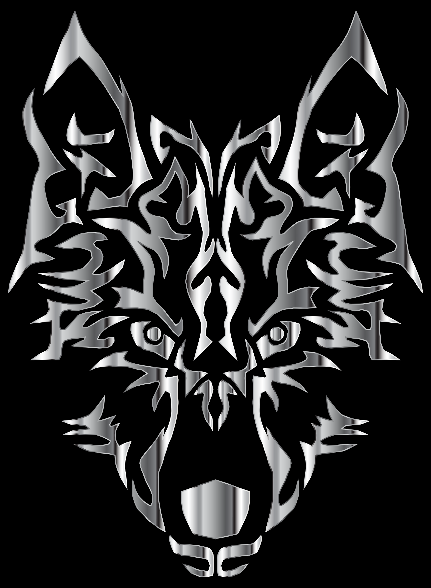 Chrome Symmetric Tribal Wolf by GDJ