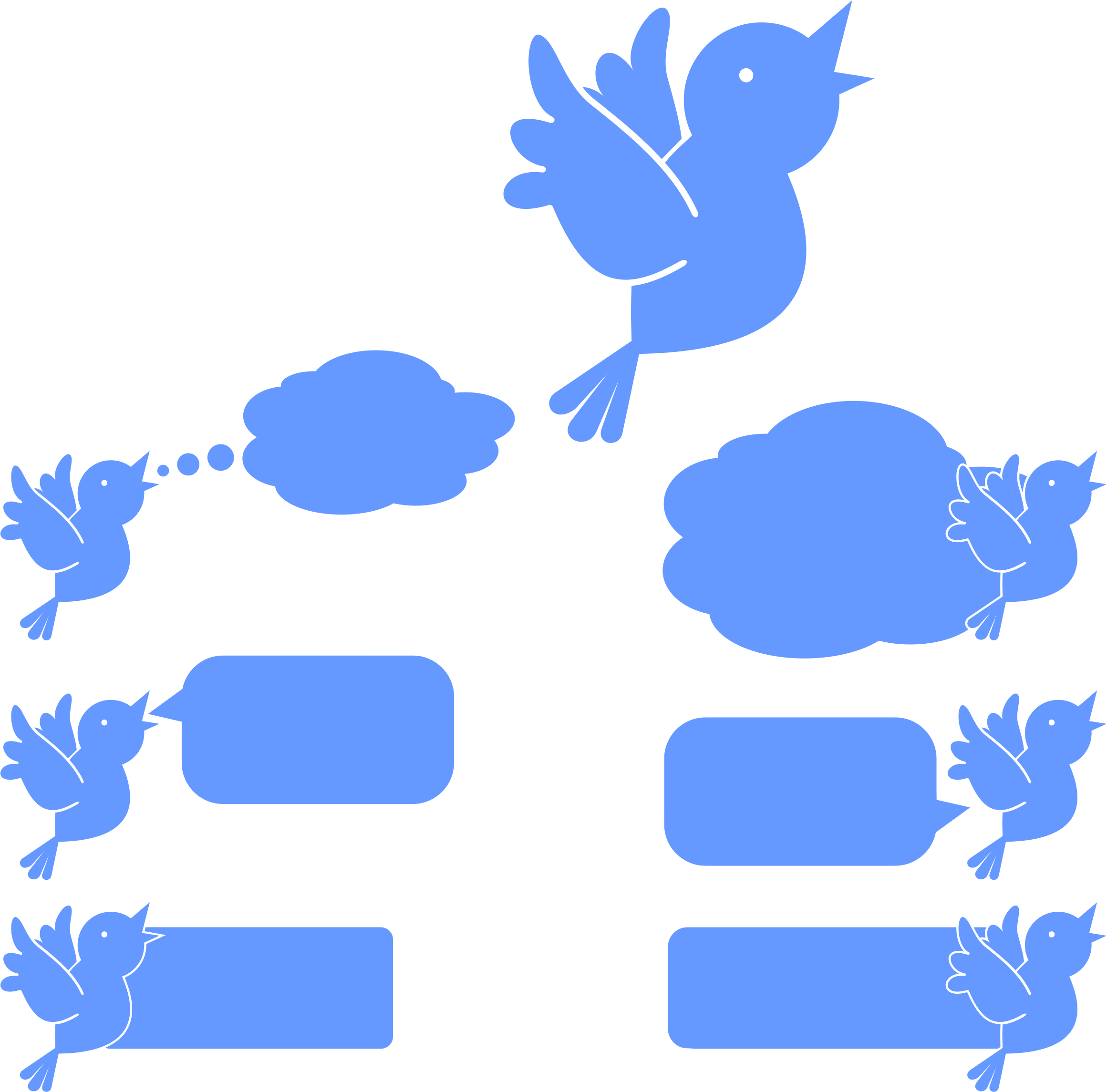 Social Media Blue Bird Icons by GDJ