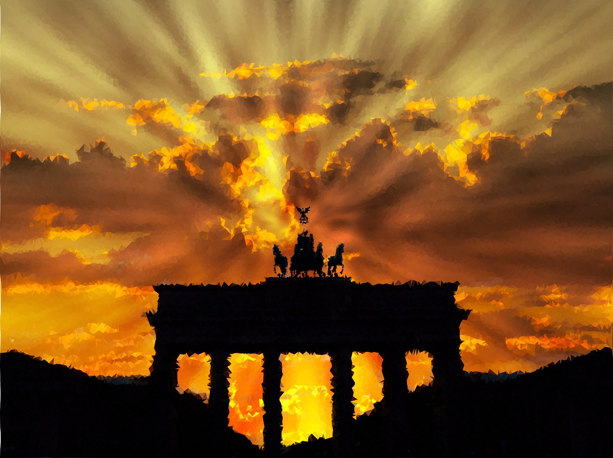 High Poly Brandenburg Gate Rays Of Light by GDJ