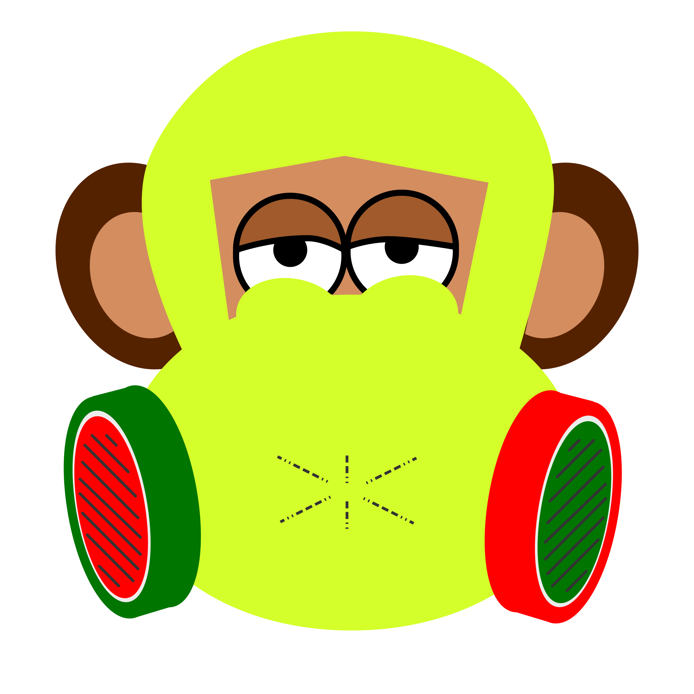 monkey wears gas mask by y12