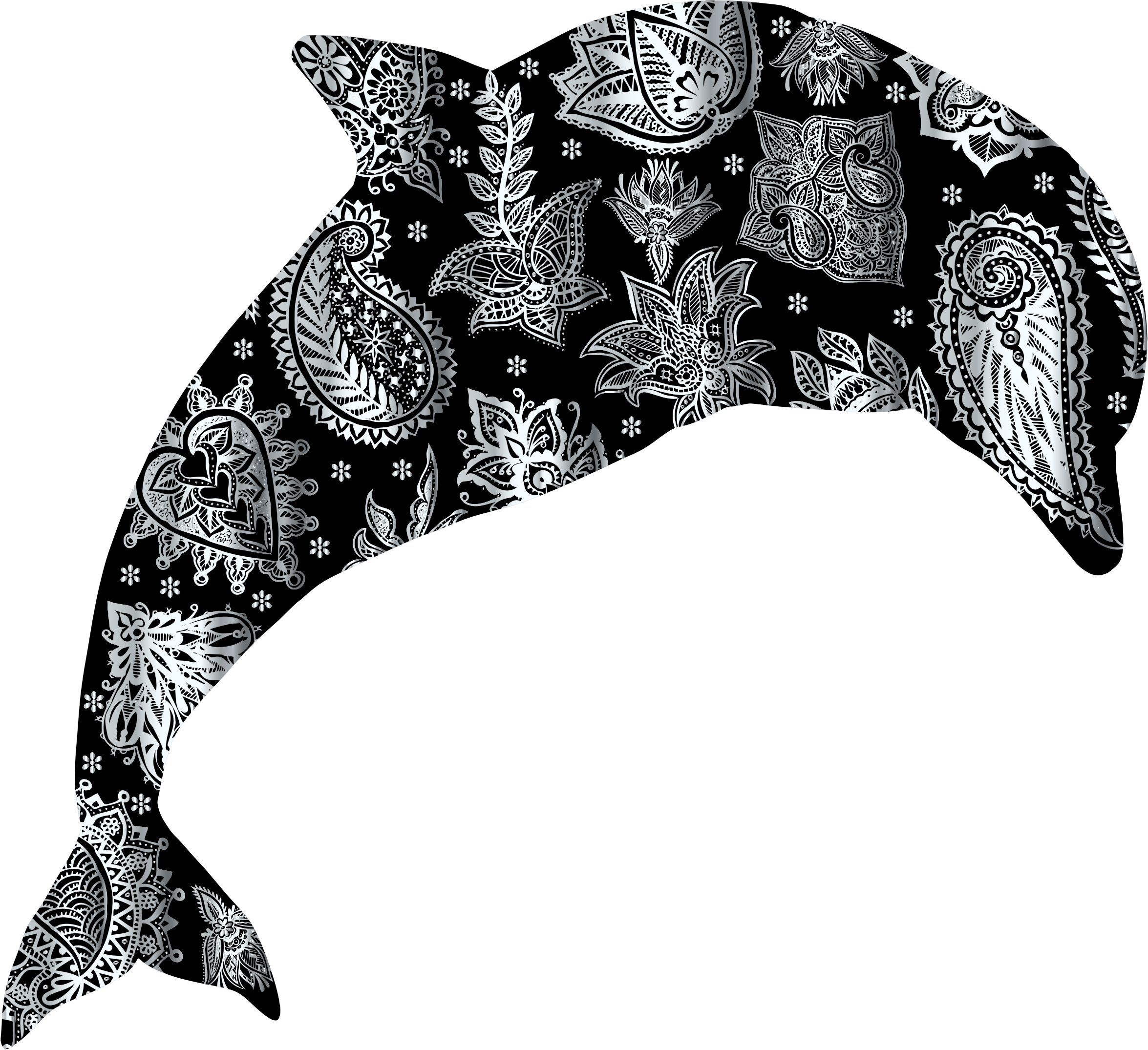 Silver Floral Pattern Dolphin by GDJ