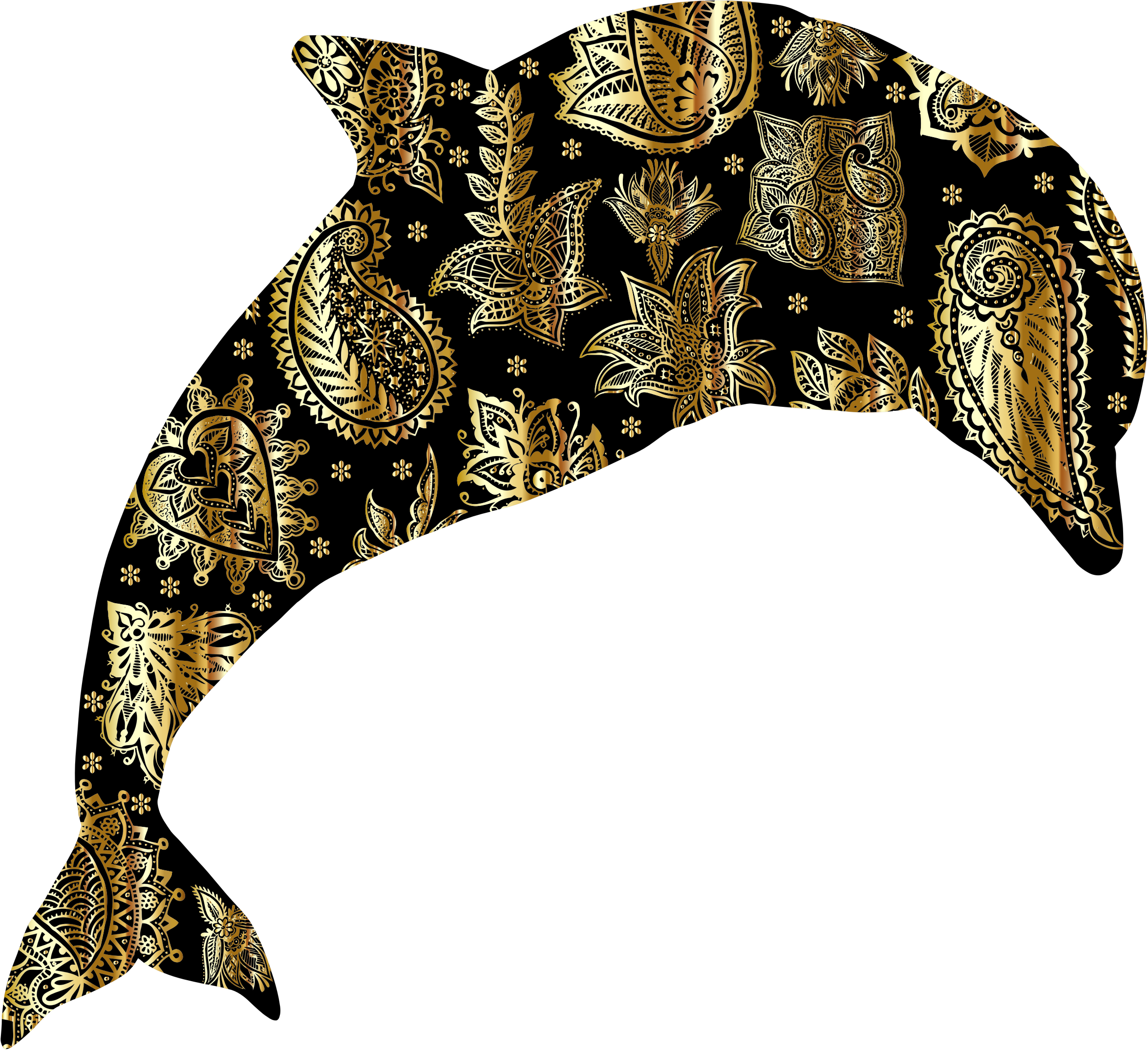 Gold Floral Pattern Dolphin by GDJ