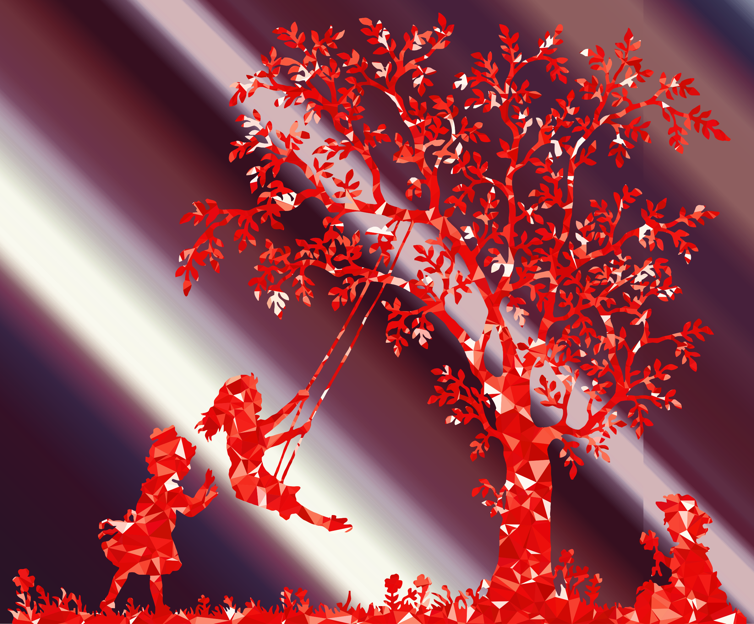 Shafts Of Light Forest Ruby 3 Girls Playing Vintage Silhouette by GDJ