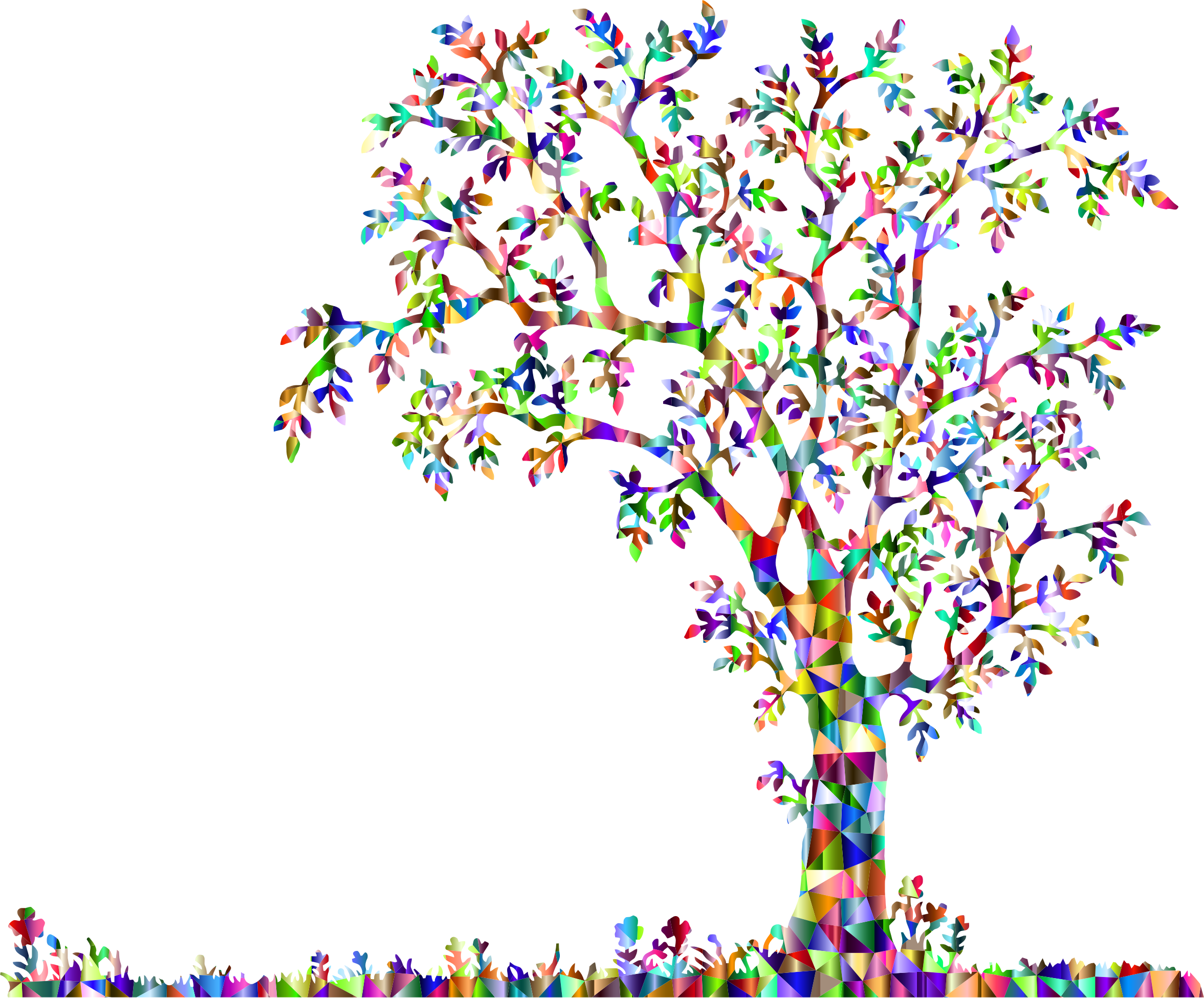 Low Poly Chromatic Tree And Flowers by GDJ