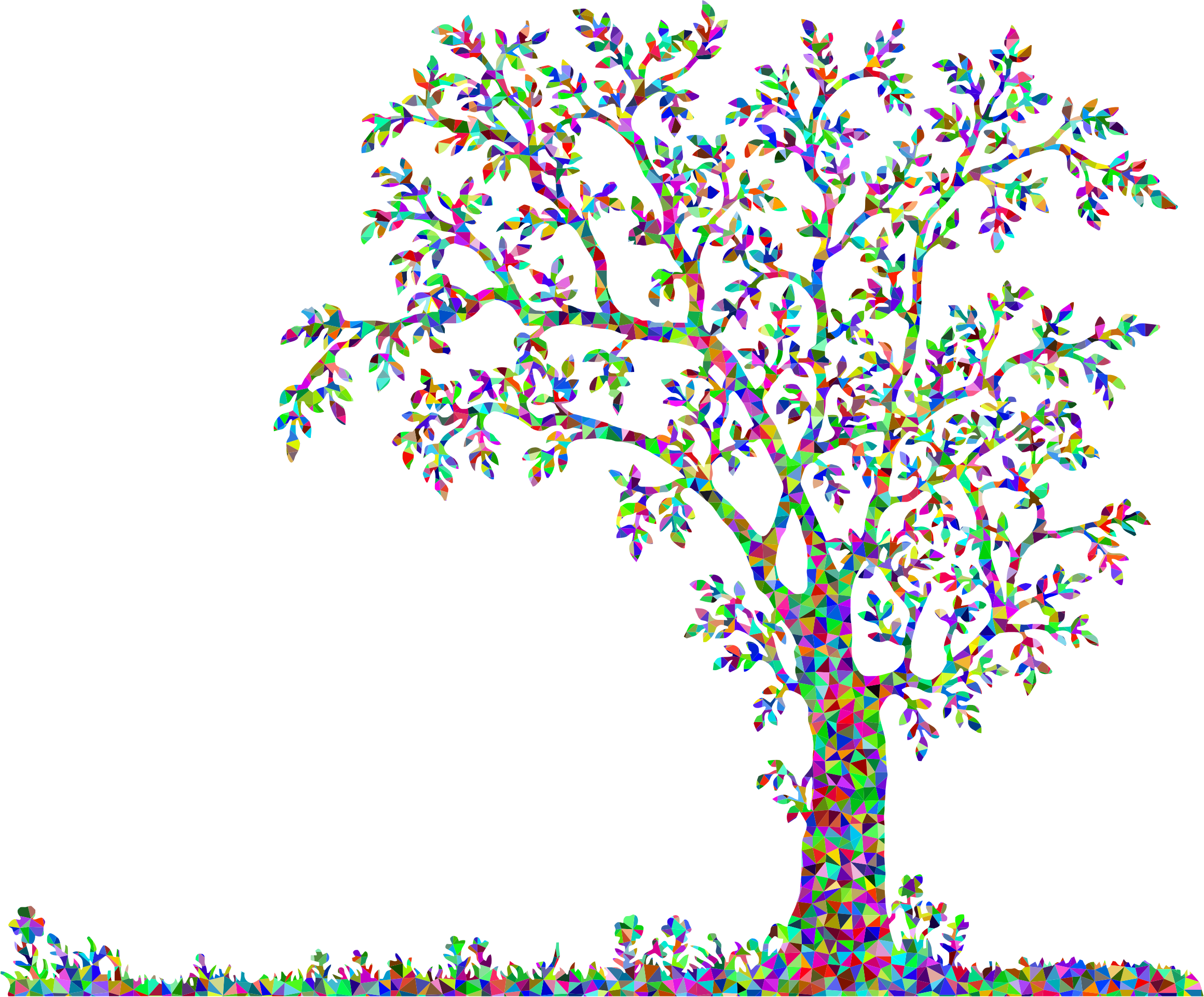 Low Poly Prismatic Tree And Flowers by GDJ