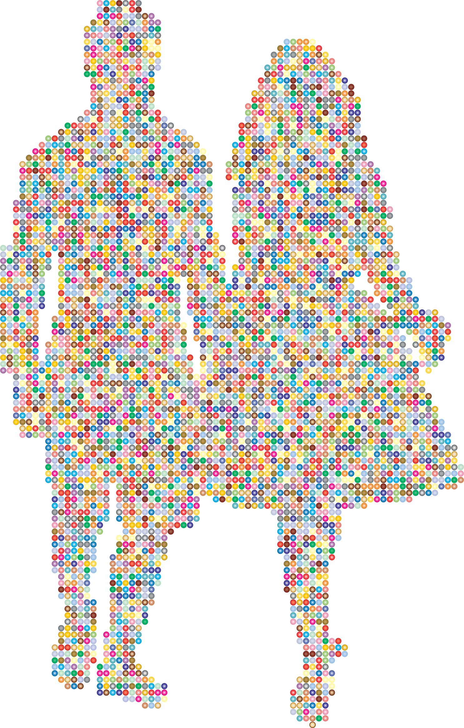 Prismatic Couple Holding Hands Silhouette 3 by GDJ