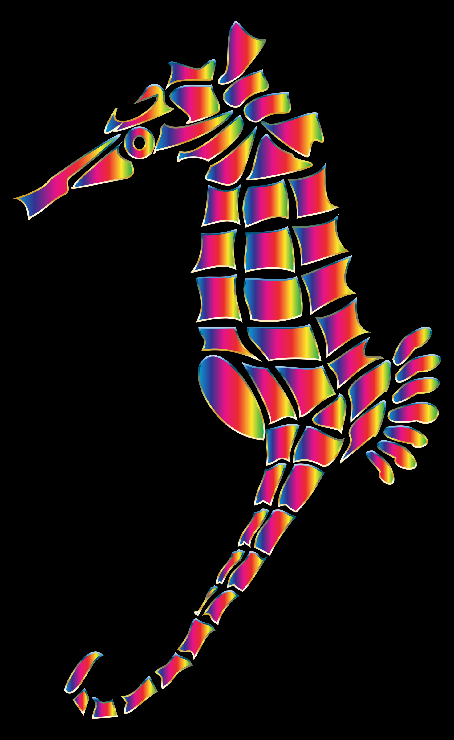Spectral Stylized Seahorse Silhouette by GDJ
