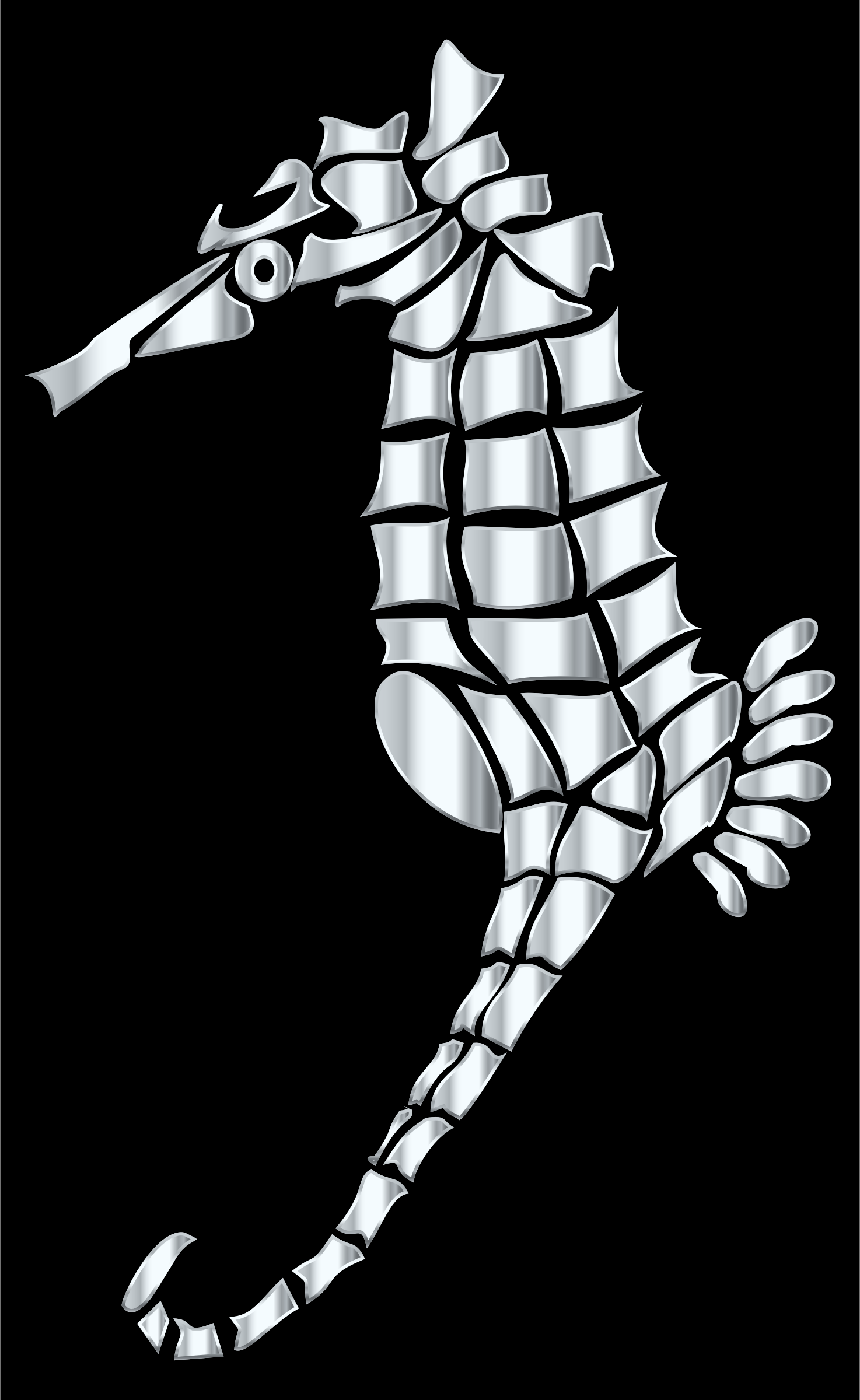 Silver Stylized Seahorse Silhouette by GDJ