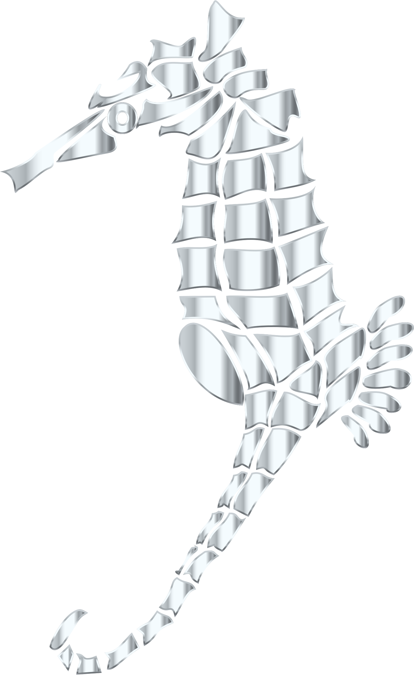 Silver Stylized Seahorse Silhouette No Background by GDJ