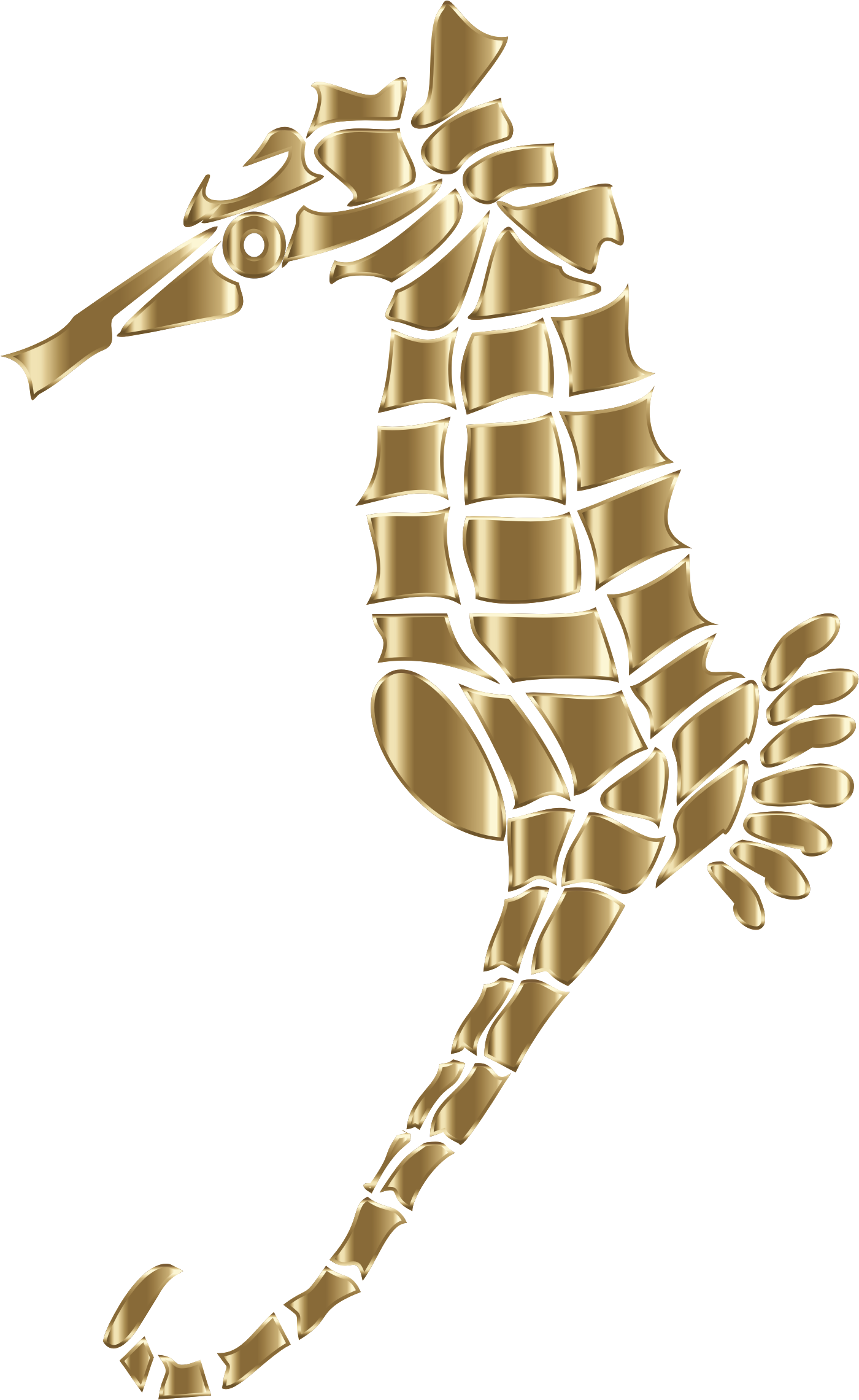 Polished Copper Stylized Seahorse Silhouette No Background by GDJ