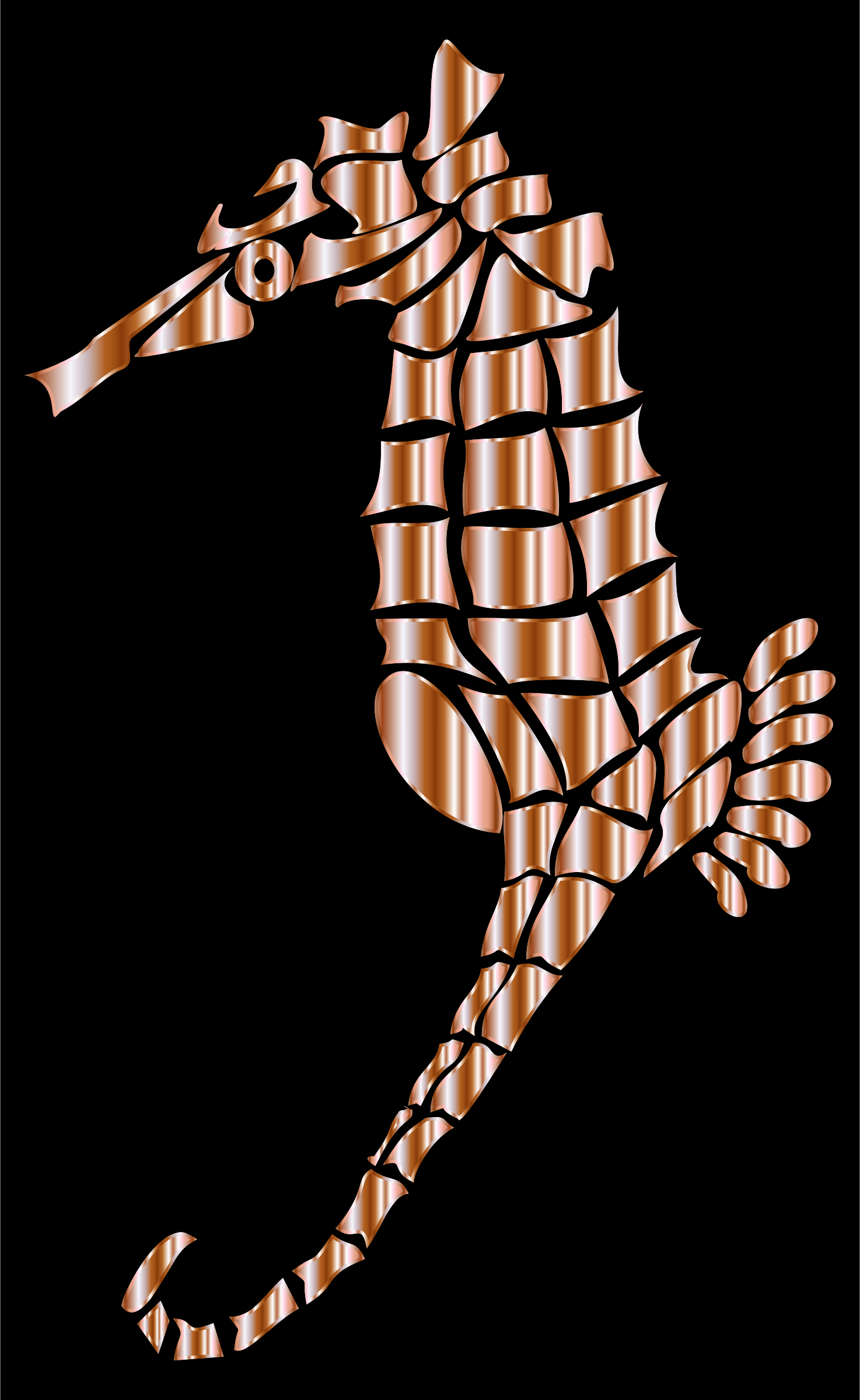 Mother Of Pearl Stylized Seahorse Silhouette by GDJ