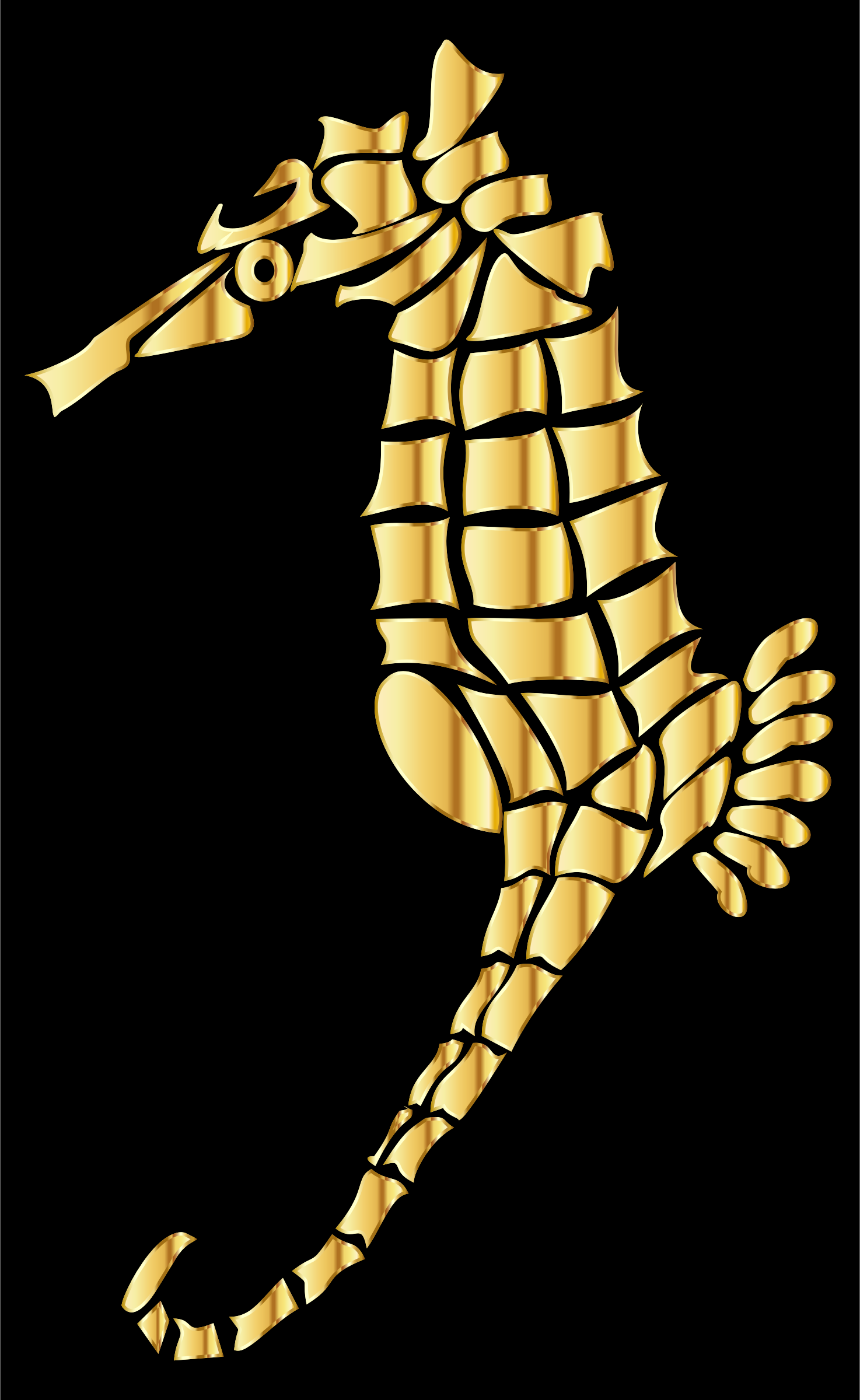 Gold Stylized Seahorse Silhouette by GDJ