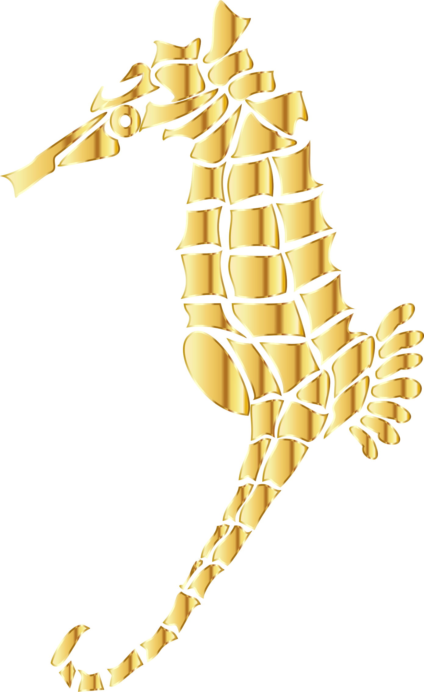 Gold Stylized Seahorse Silhouette No Background by GDJ