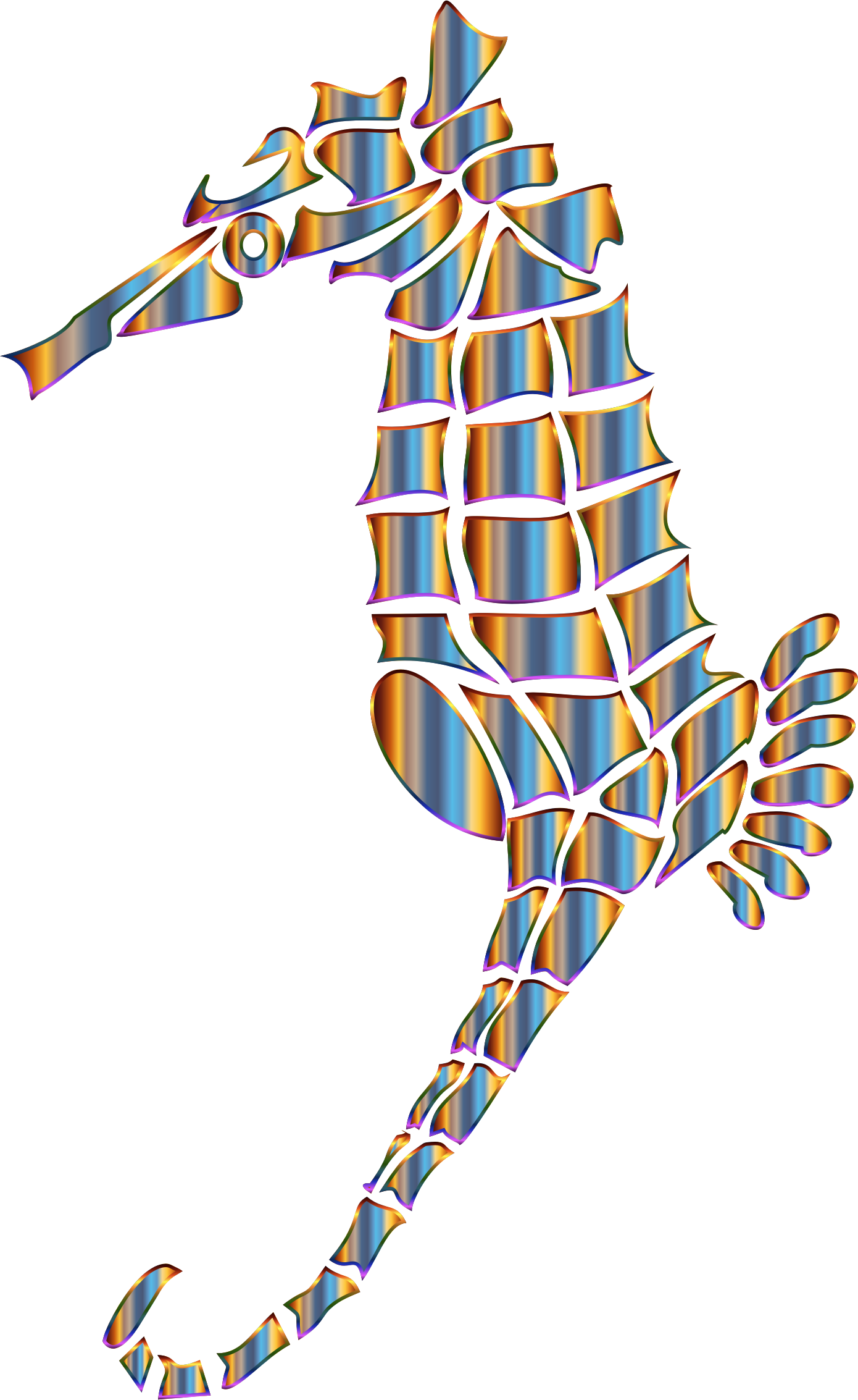 Chromatic Stylized Seahorse Silhouette No Background by GDJ