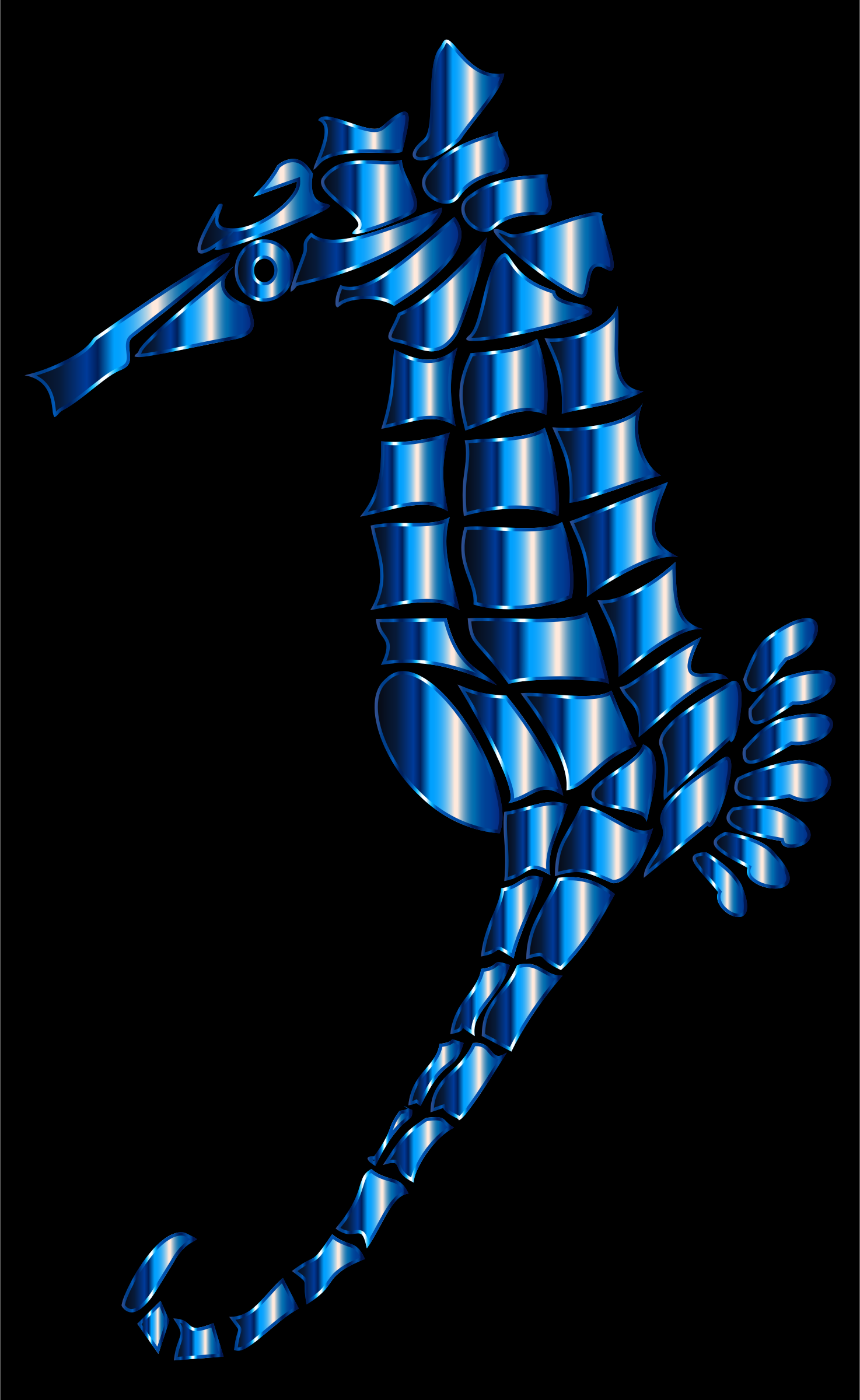 Cerulean Stylized Seahorse Silhouette by GDJ