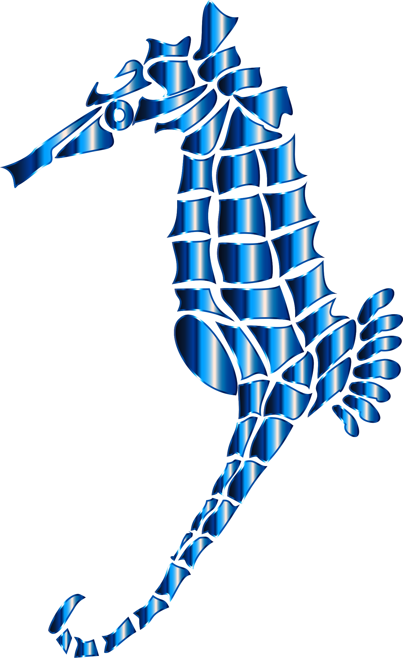 Cerulean Stylized Seahorse Silhouette No Background by GDJ