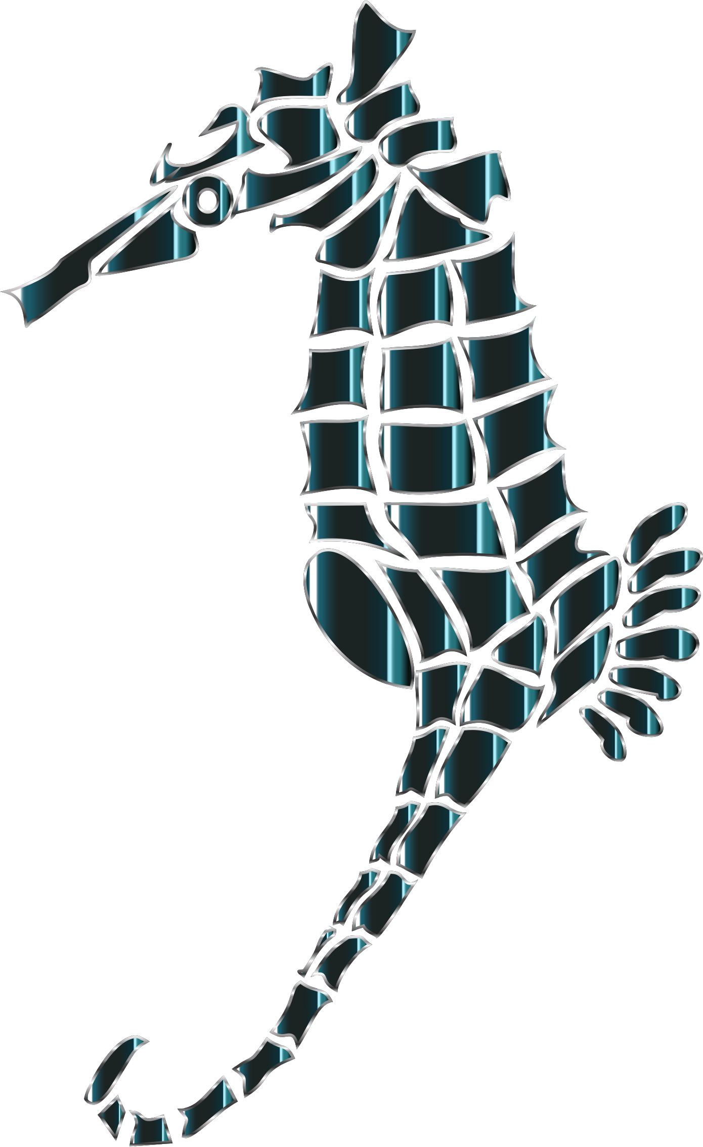 Bioluminescent Stylized Seahorse Silhouette No Background by GDJ