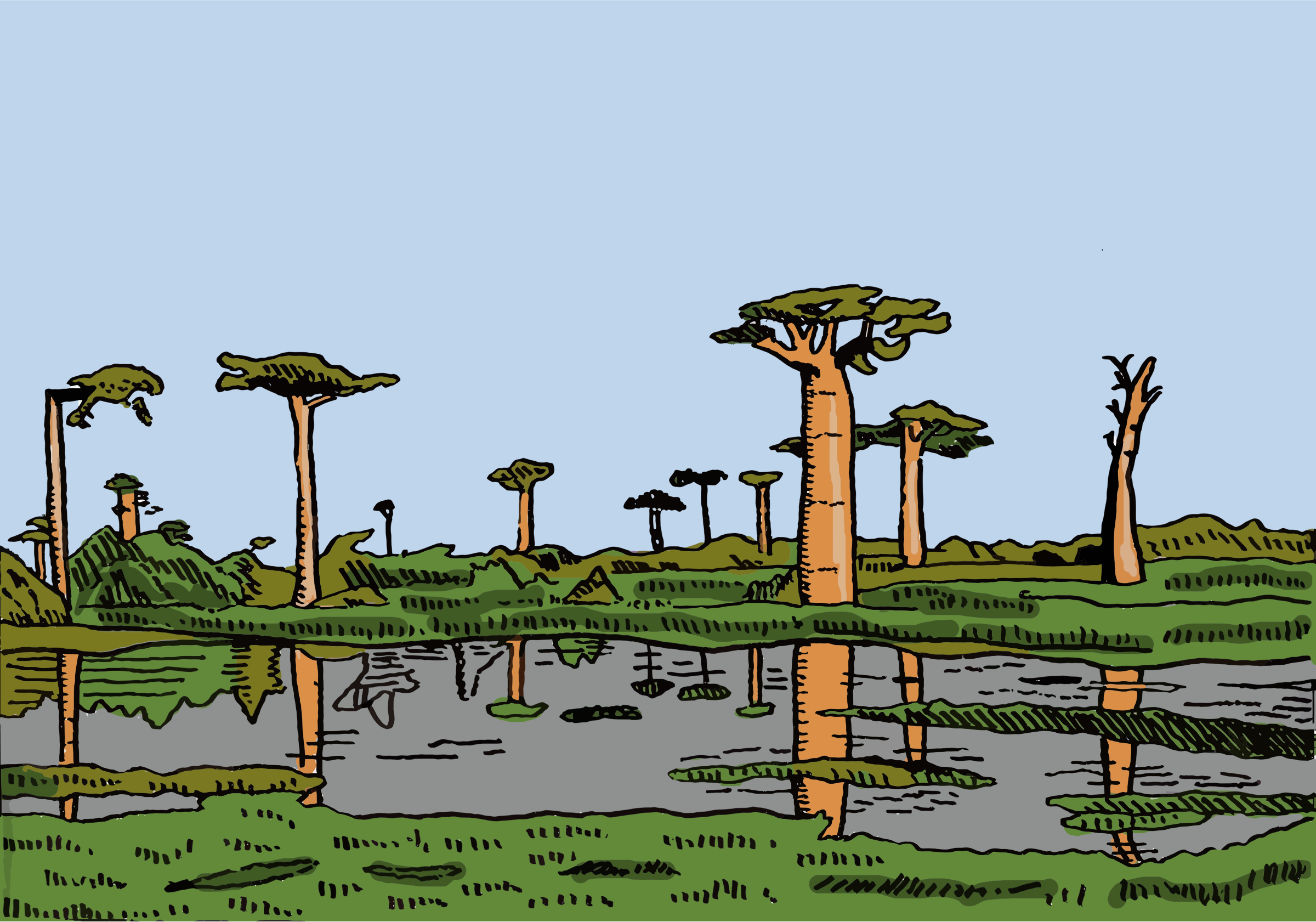 Cartoon African Landscape by GDJ
