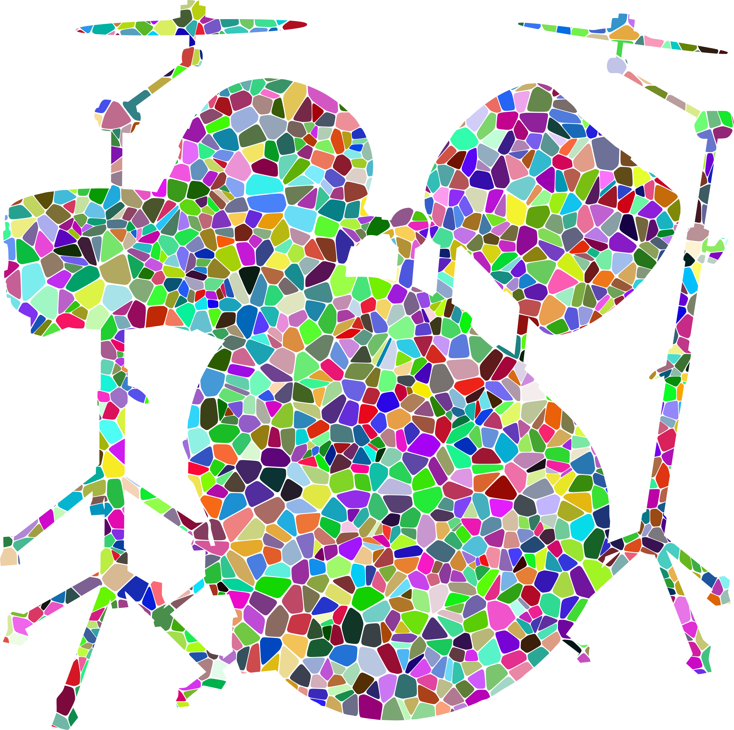 Prismatic Tiled Drums Set Silhouette by GDJ