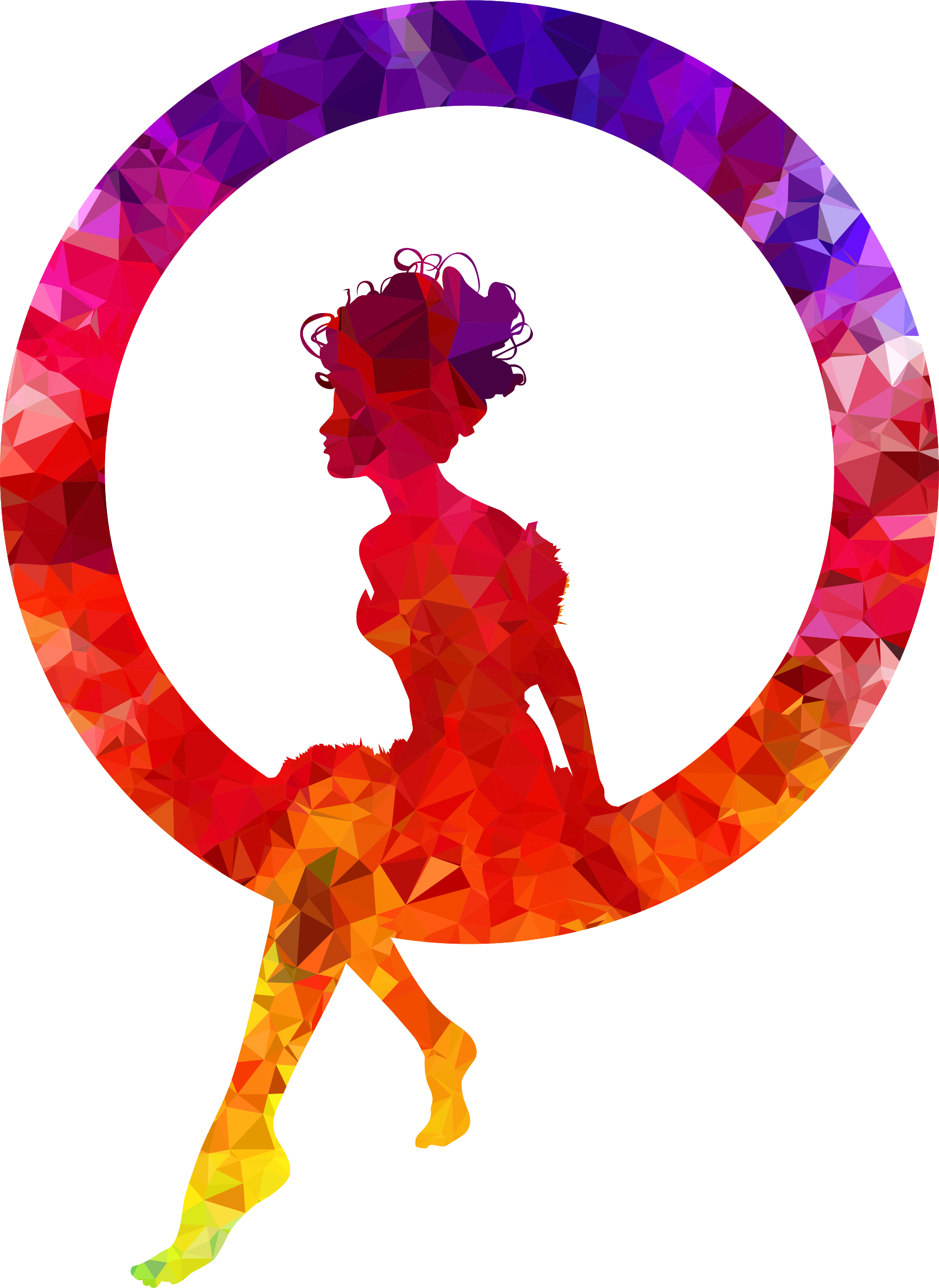Topaz Sapphire Ruby Fairy Sitting In A Circle Silhouette by GDJ