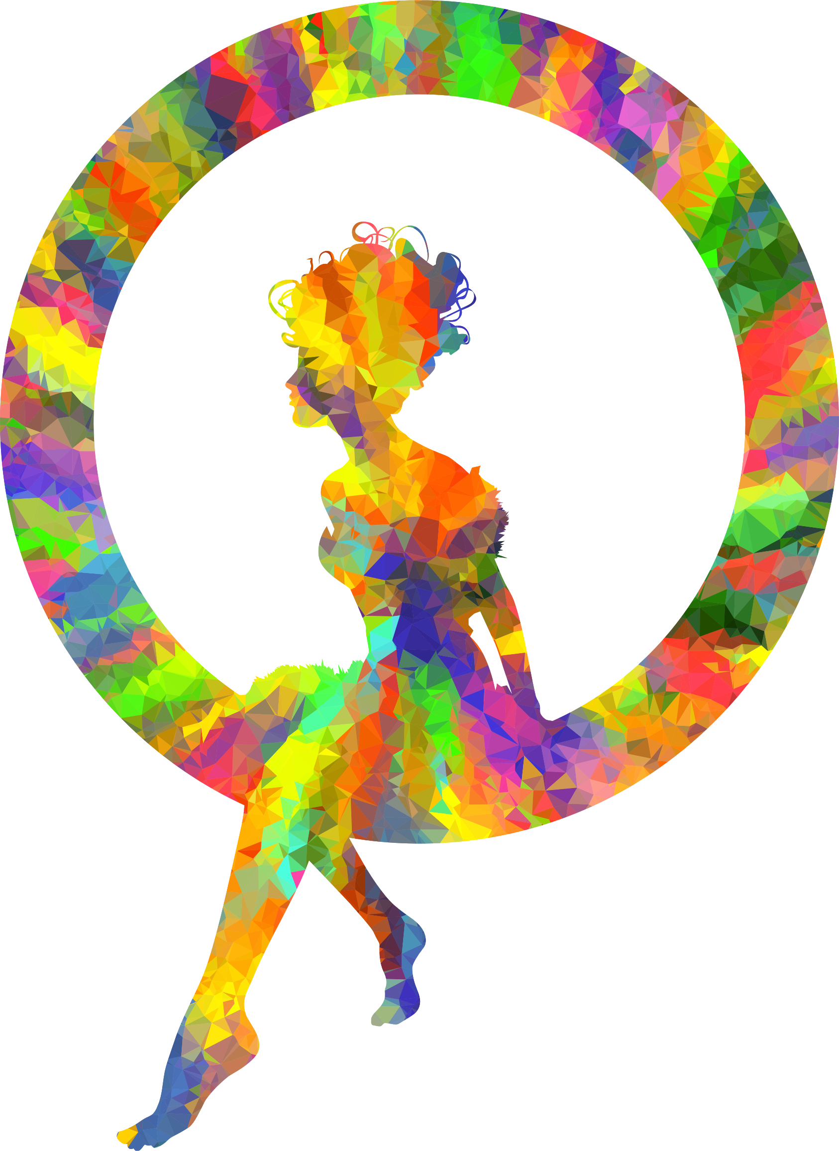 Low Poly Splash Of Color Fairy Sitting In A Circle Silhouette by GDJ