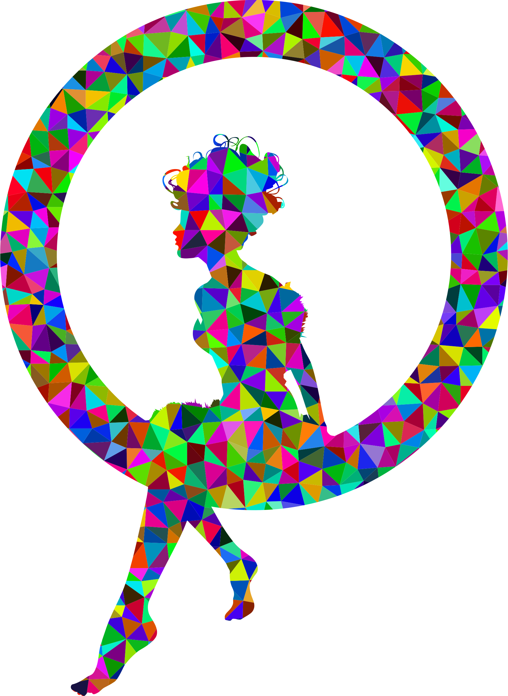 Low Poly Prismatic Fairy Sitting In A Circle Silhouette by GDJ