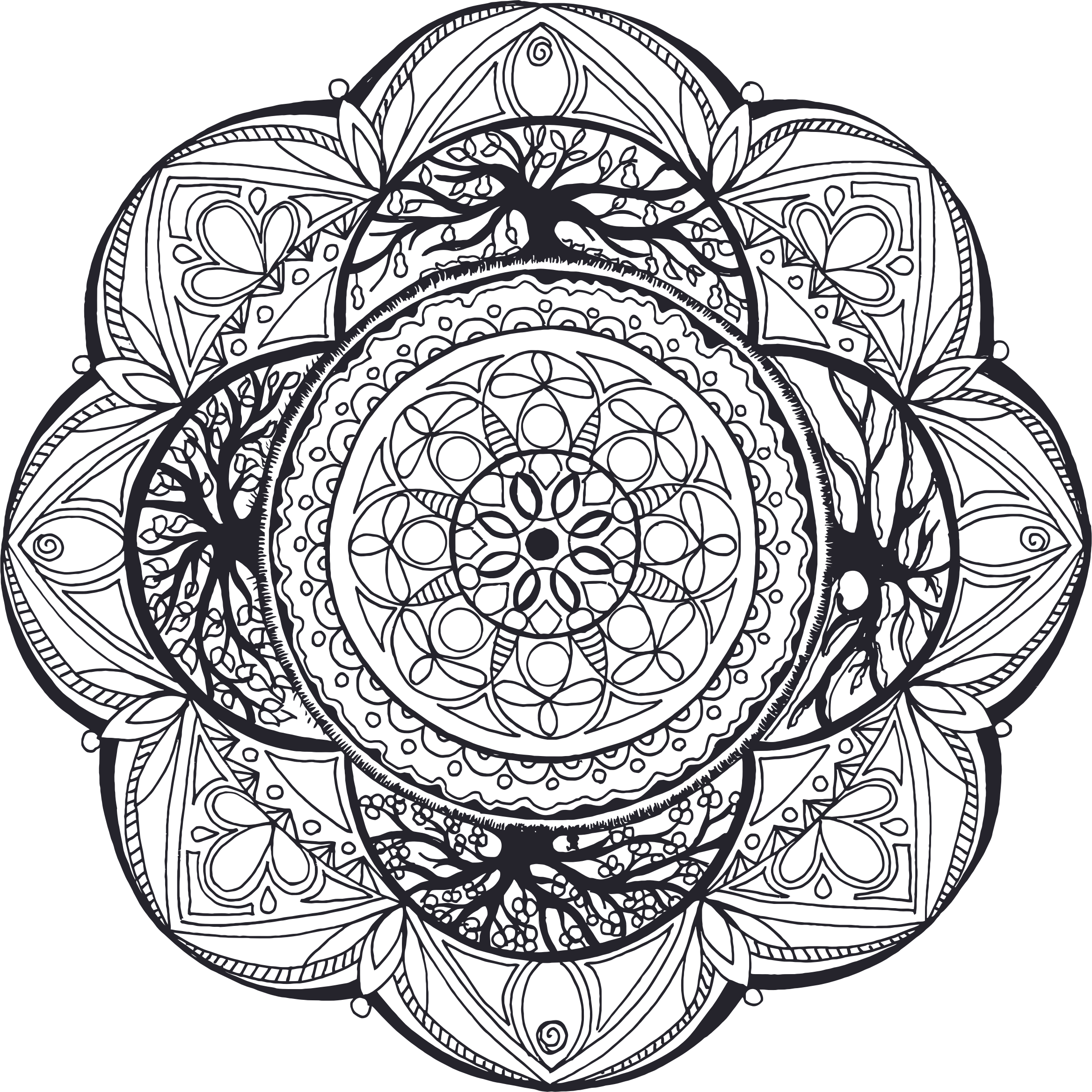 Hand Drawn Mandala No Fills by GDJ