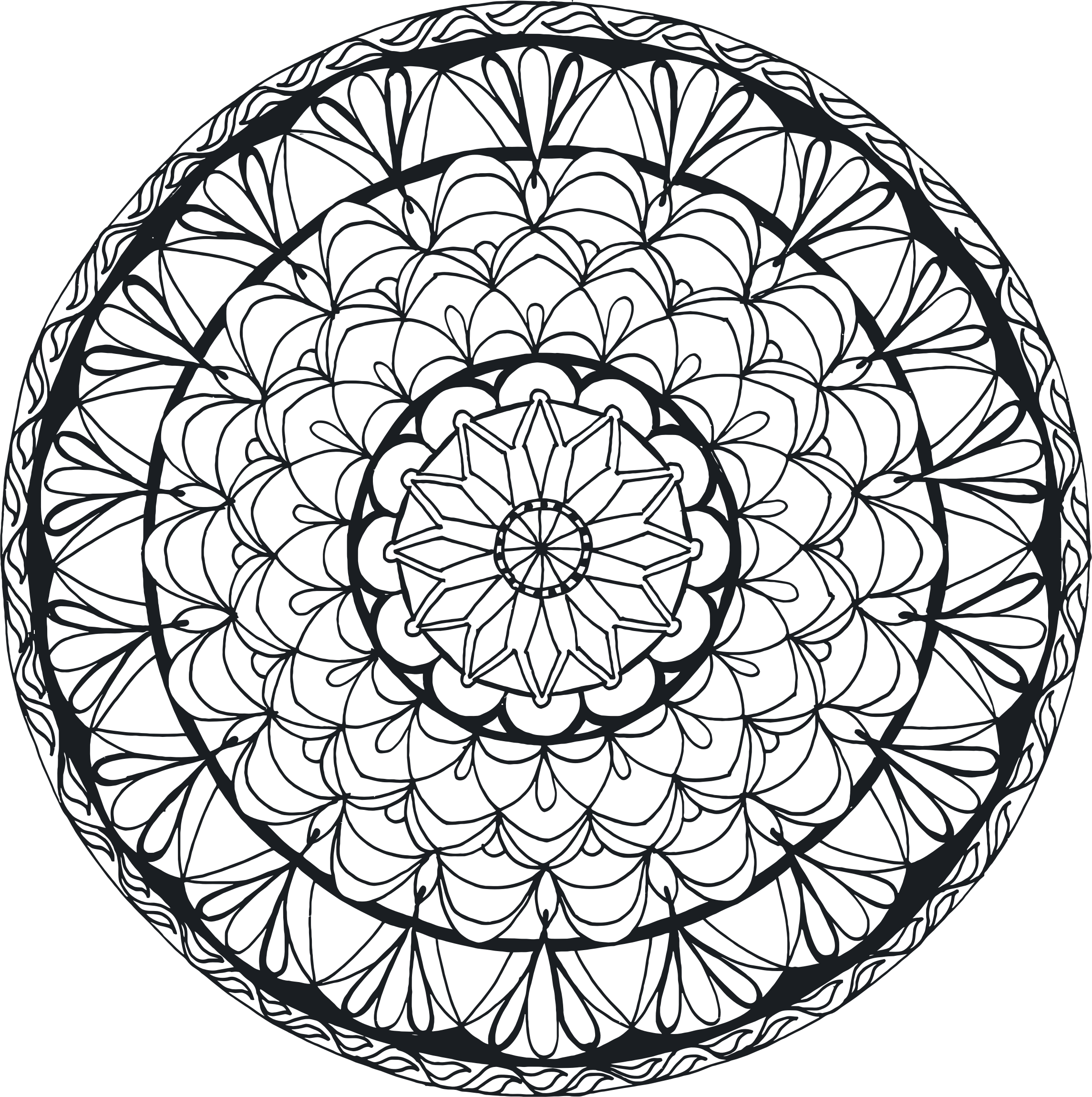 Hand Drawn Mandala 2 No Fills by GDJ