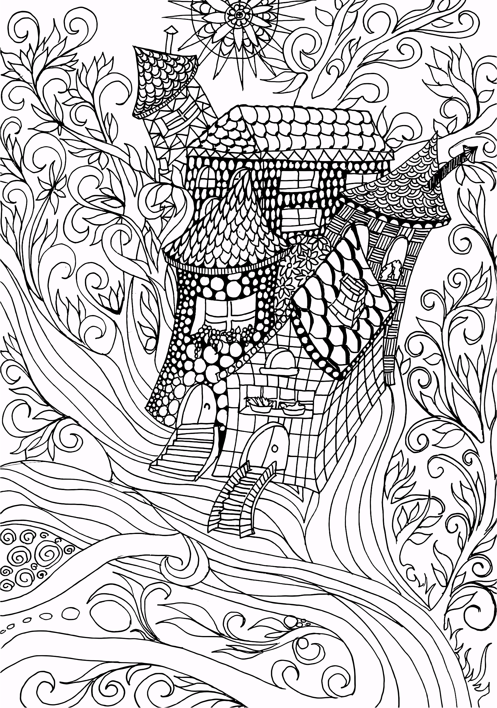 Fantasy Flourish Line Art by GDJ