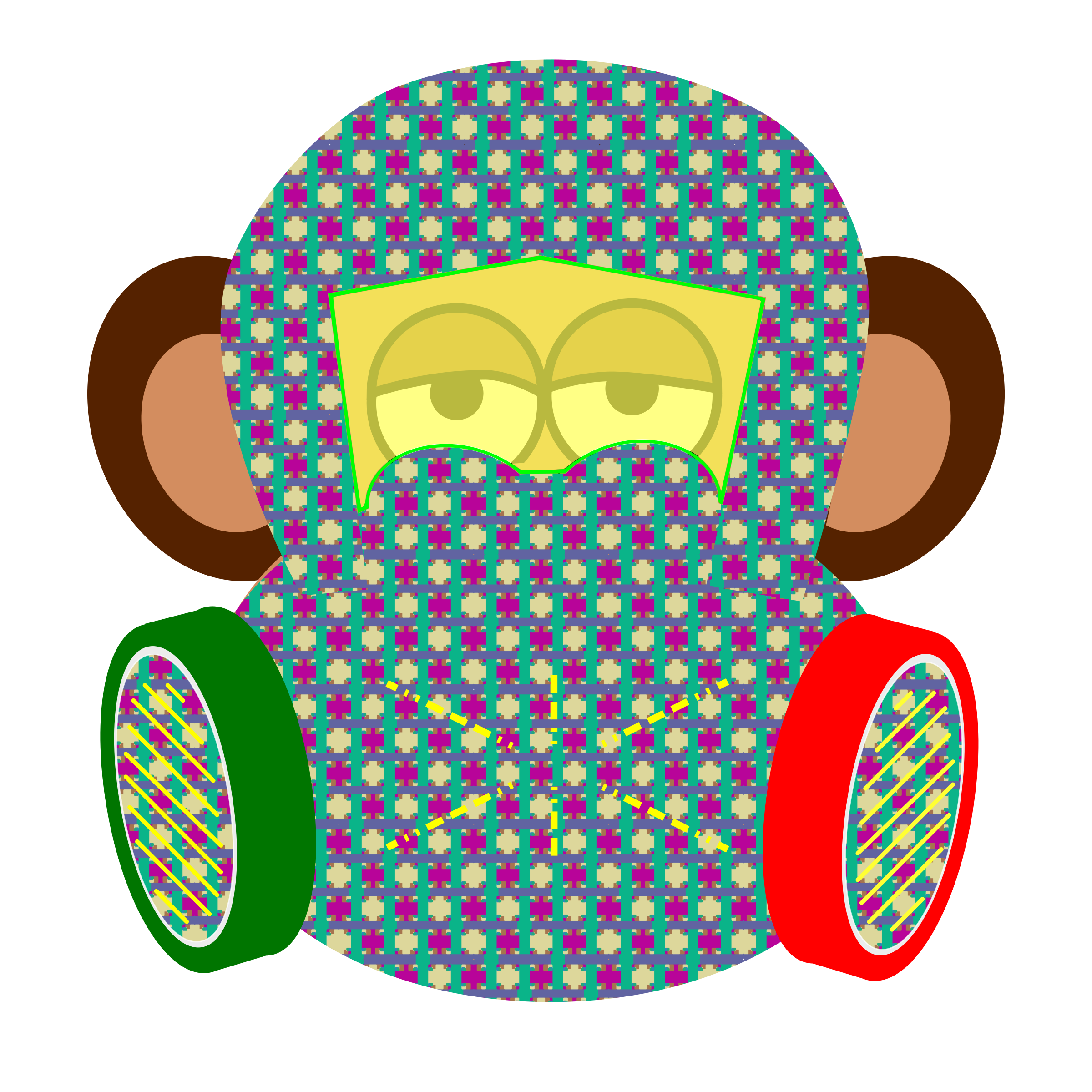 monkey wears gas mask with pattern by y12