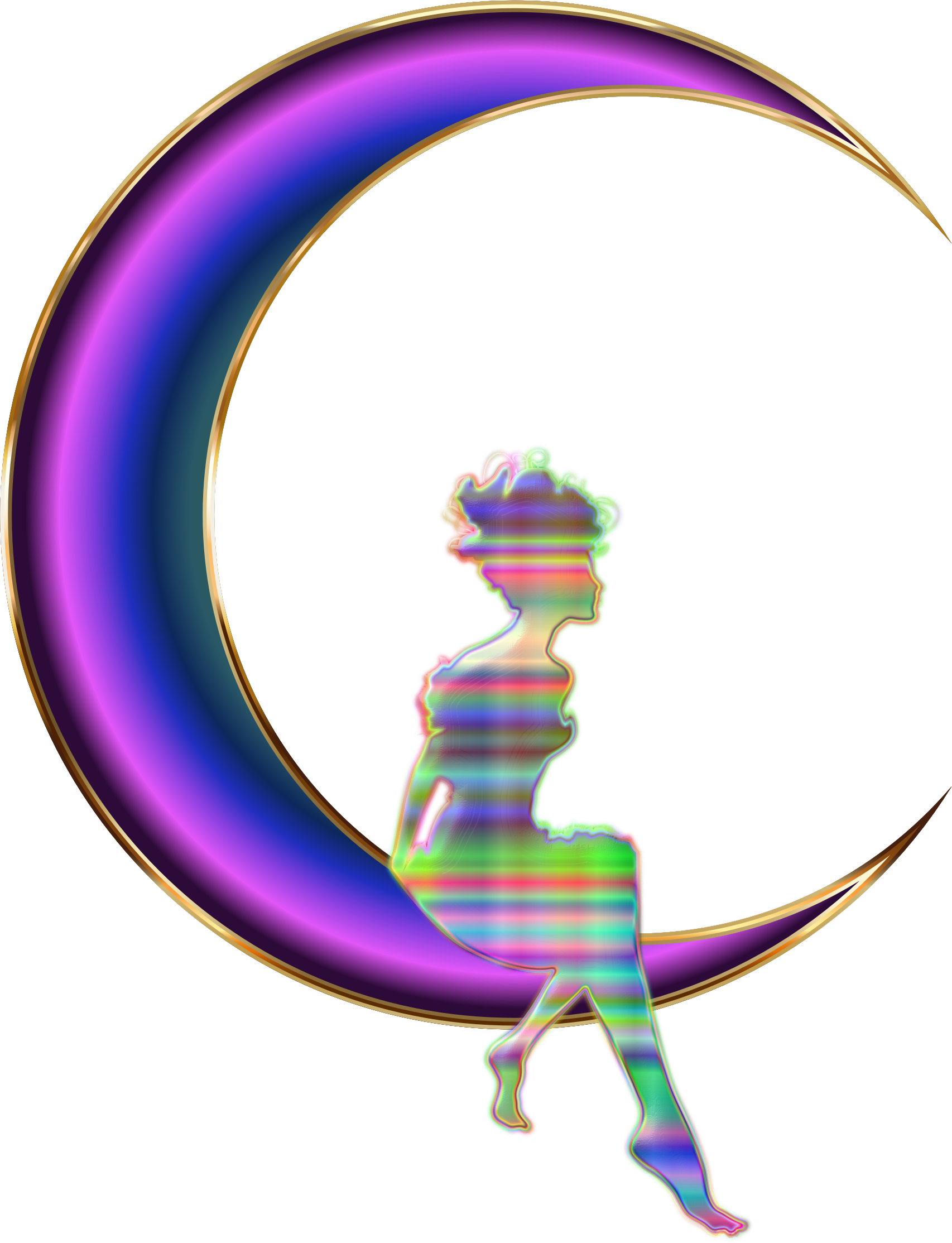Chromatic Fairy Sitting On Crescent Moon Enhanced No Background by GDJ