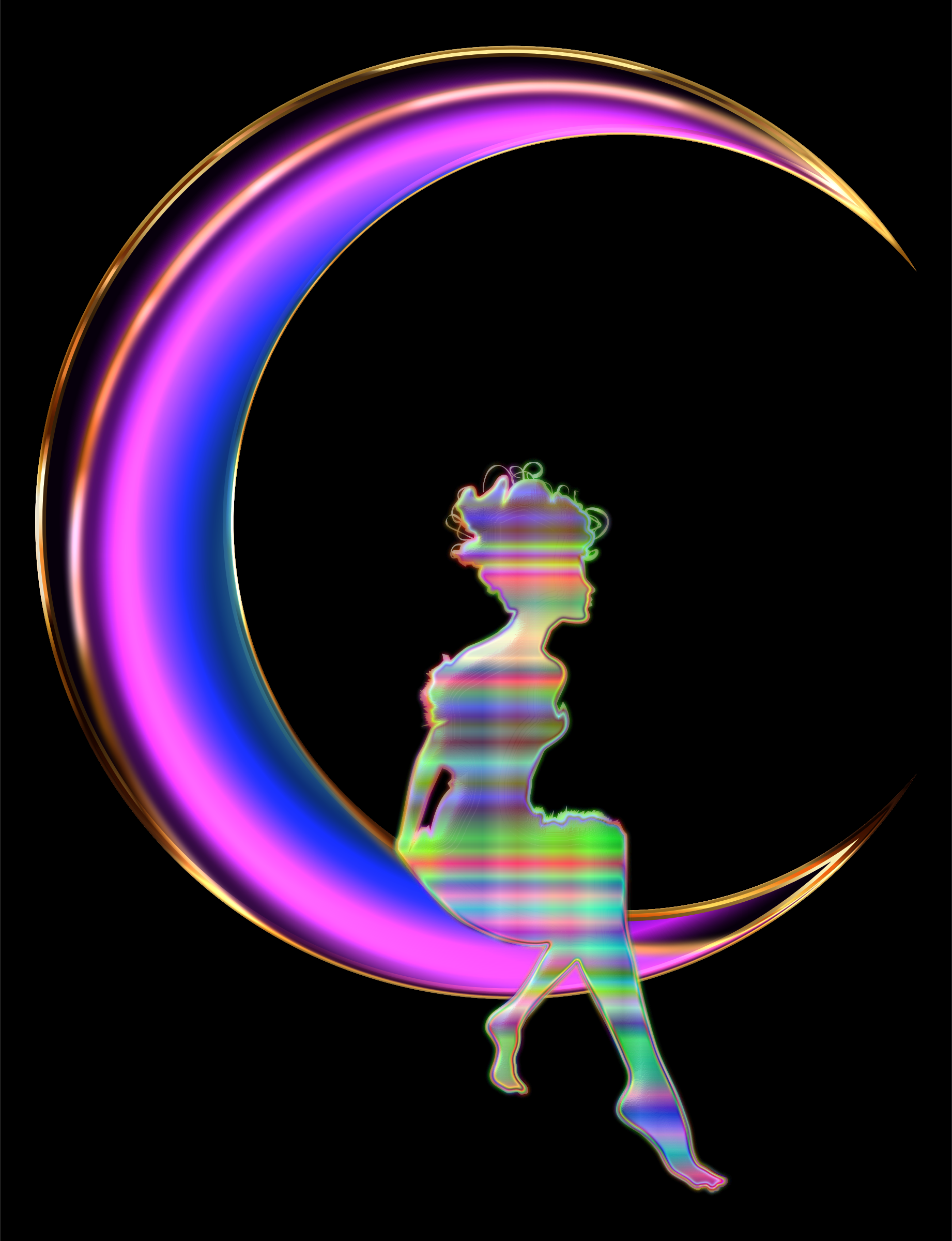 Chromatic Fairy Sitting On Crescent Moon Enhanced 2 by GDJ