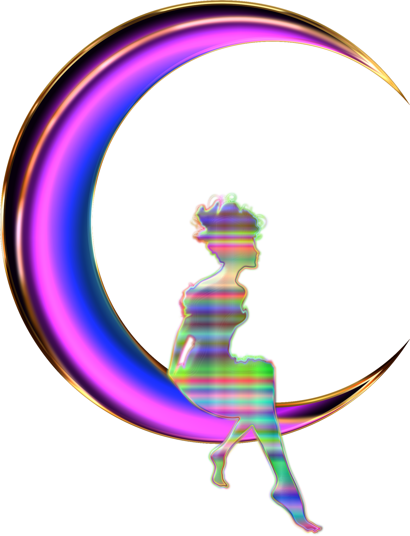 Chromatic Fairy Sitting On Crescent Moon Enhanced 2 No Background by ...