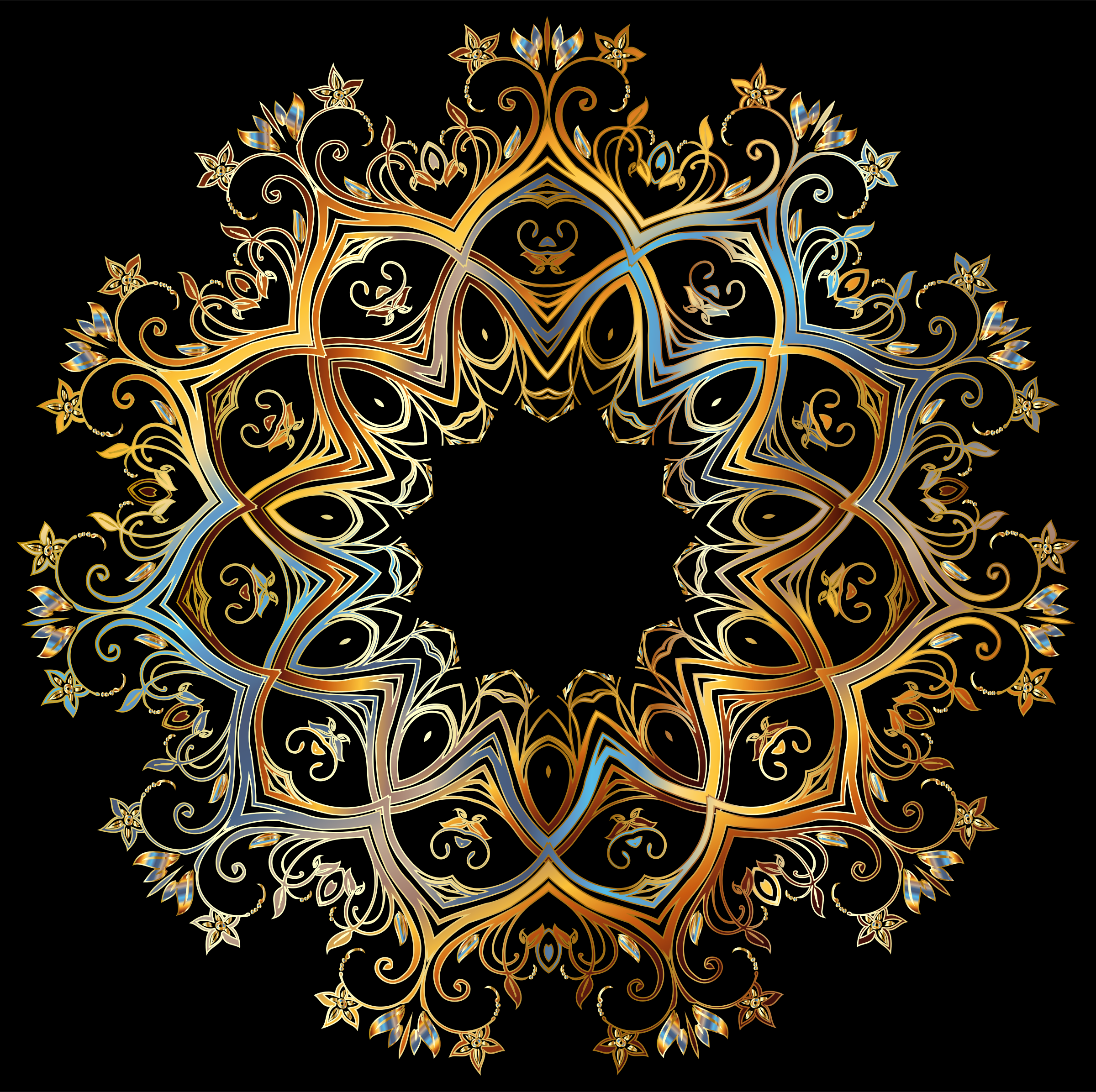 Chromatic Gold Flourish Ornament by GDJ