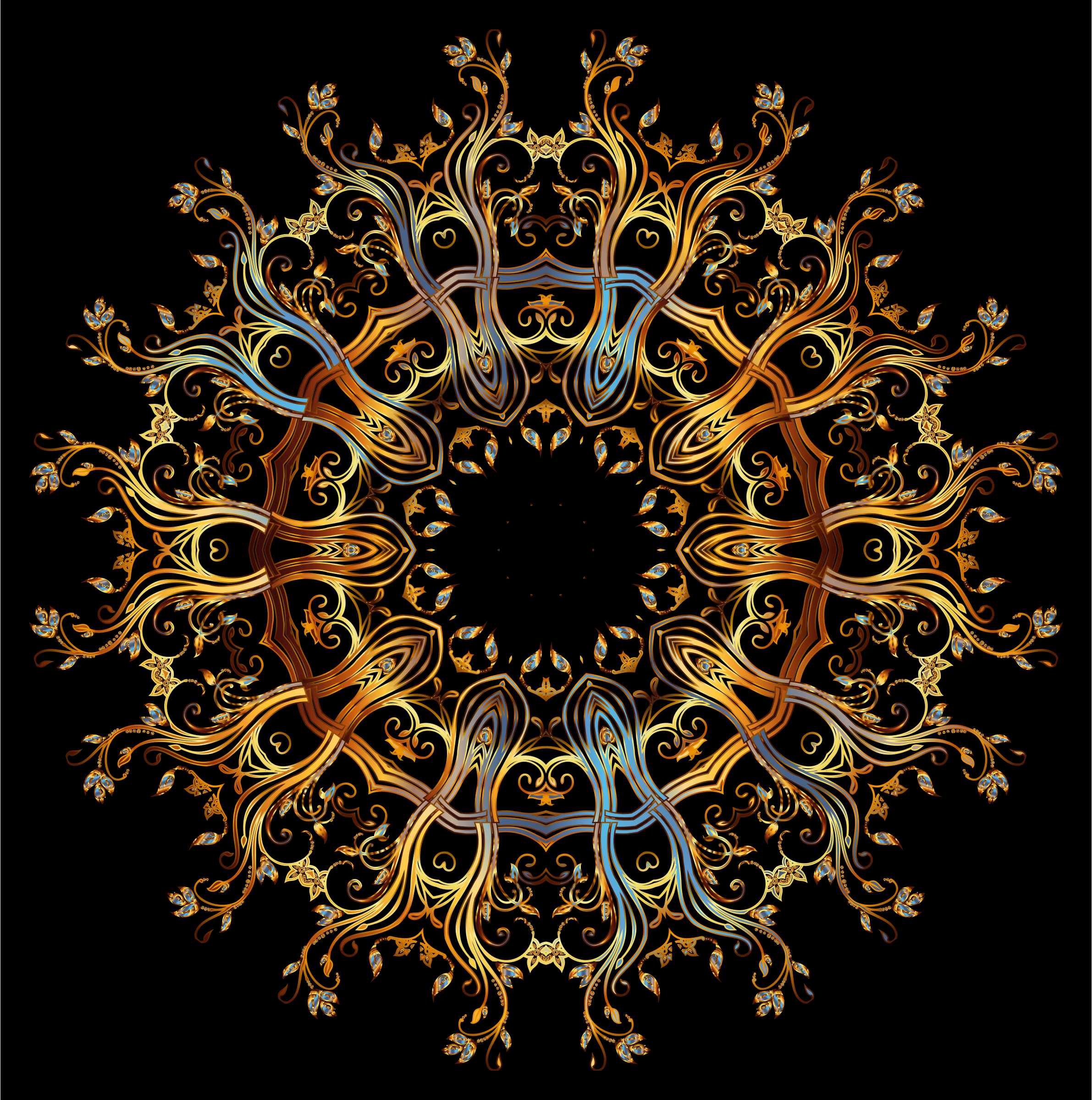 Chromatic Gold Flourish Ornament 3 by GDJ