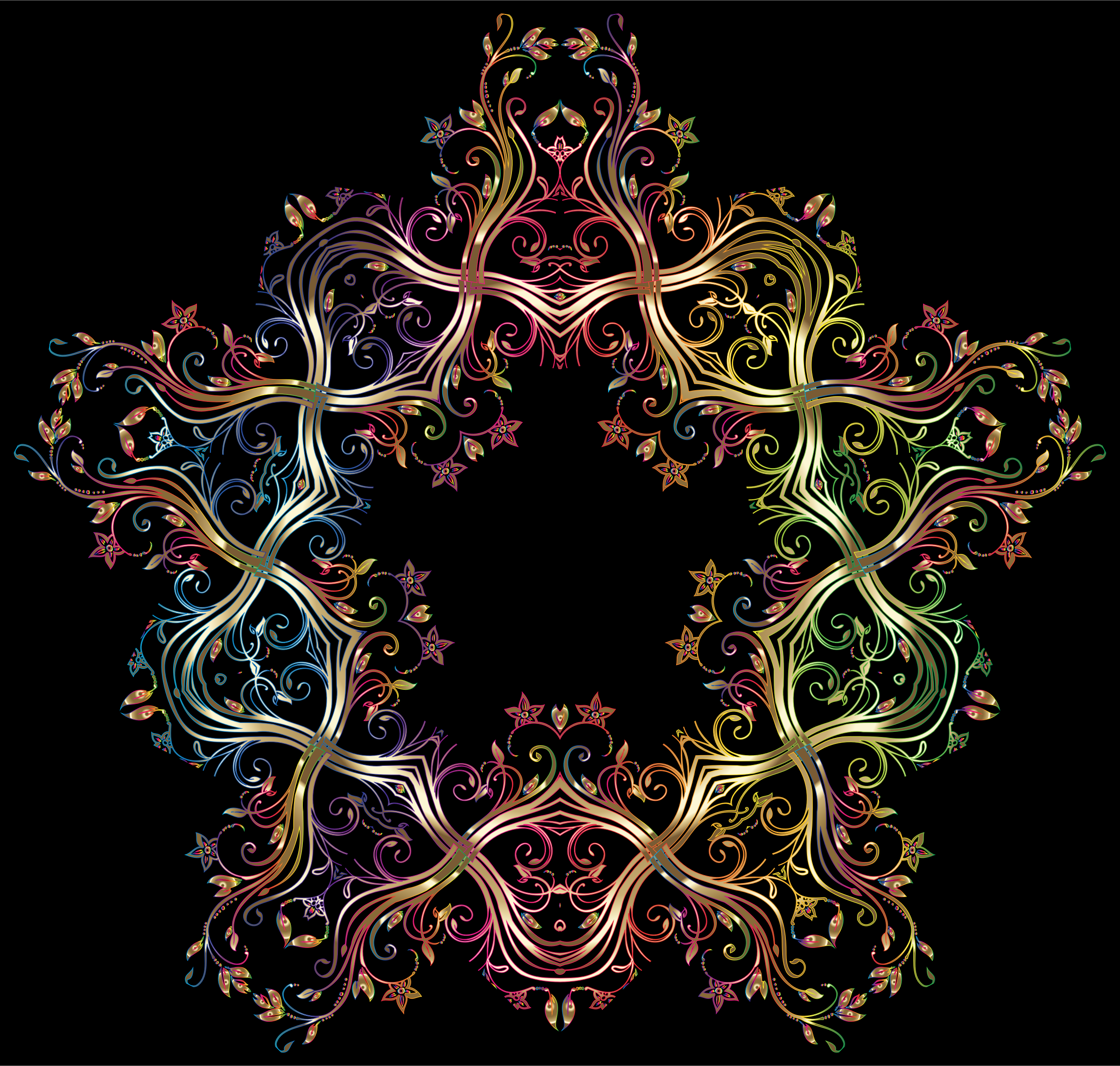 Chromatic Gold Flourish Ornament 5 by GDJ
