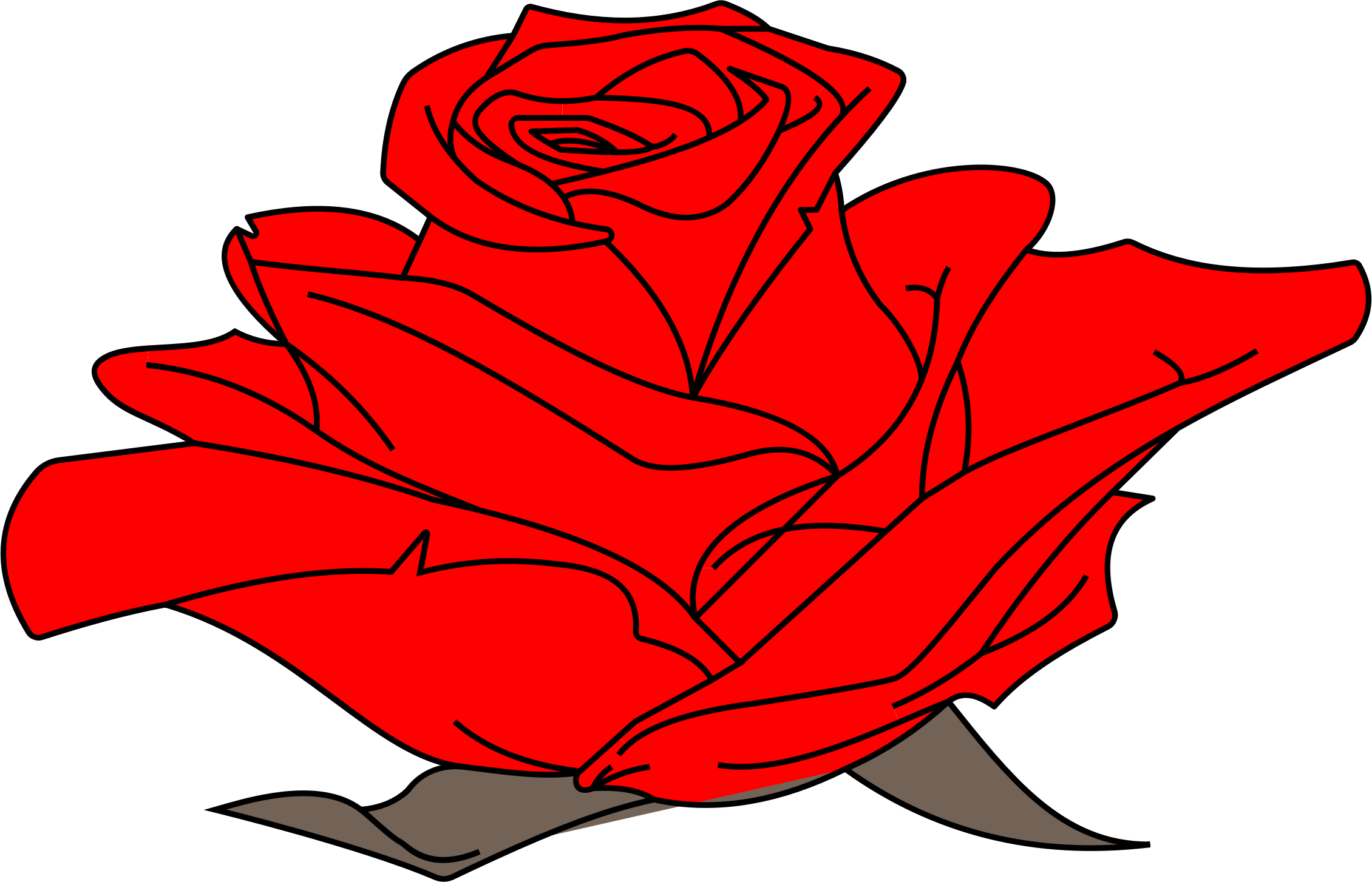 Clipart - Colored Rose Line Art