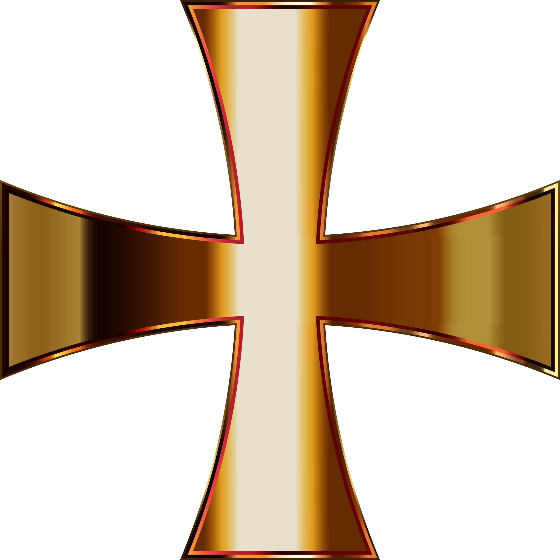 Gold Maltese Cross Enhanced Contrast No Background by GDJ