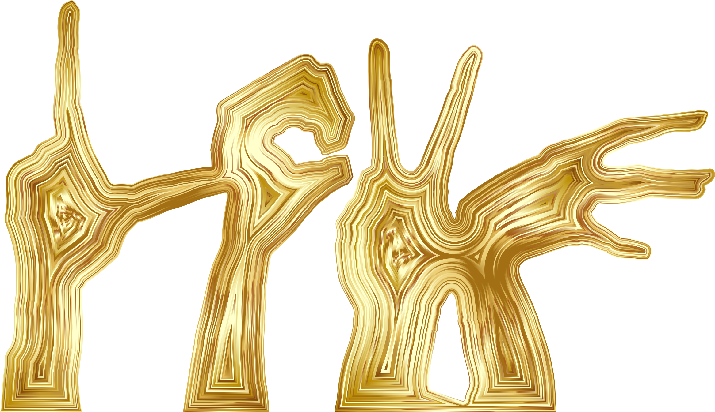 Gold Love Hands Silhouette by GDJ