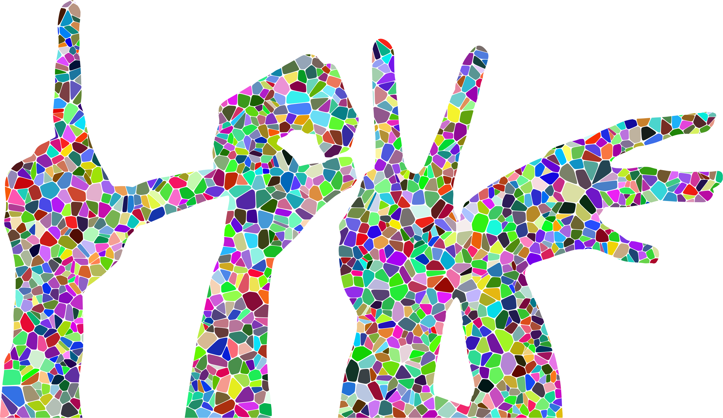 Prismatic Tiled Love Hands Silhouette by GDJ