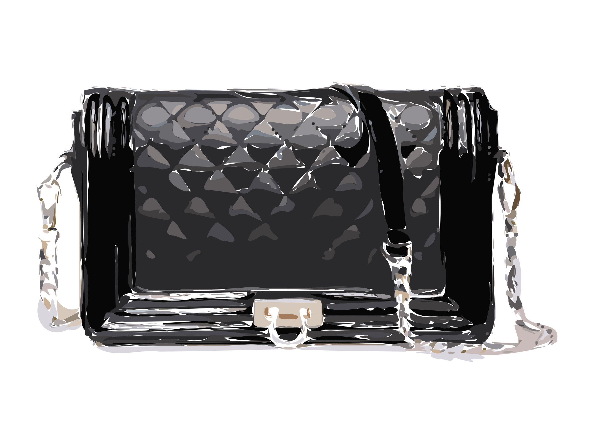 Black Bag with Strap and Clasp by rejon