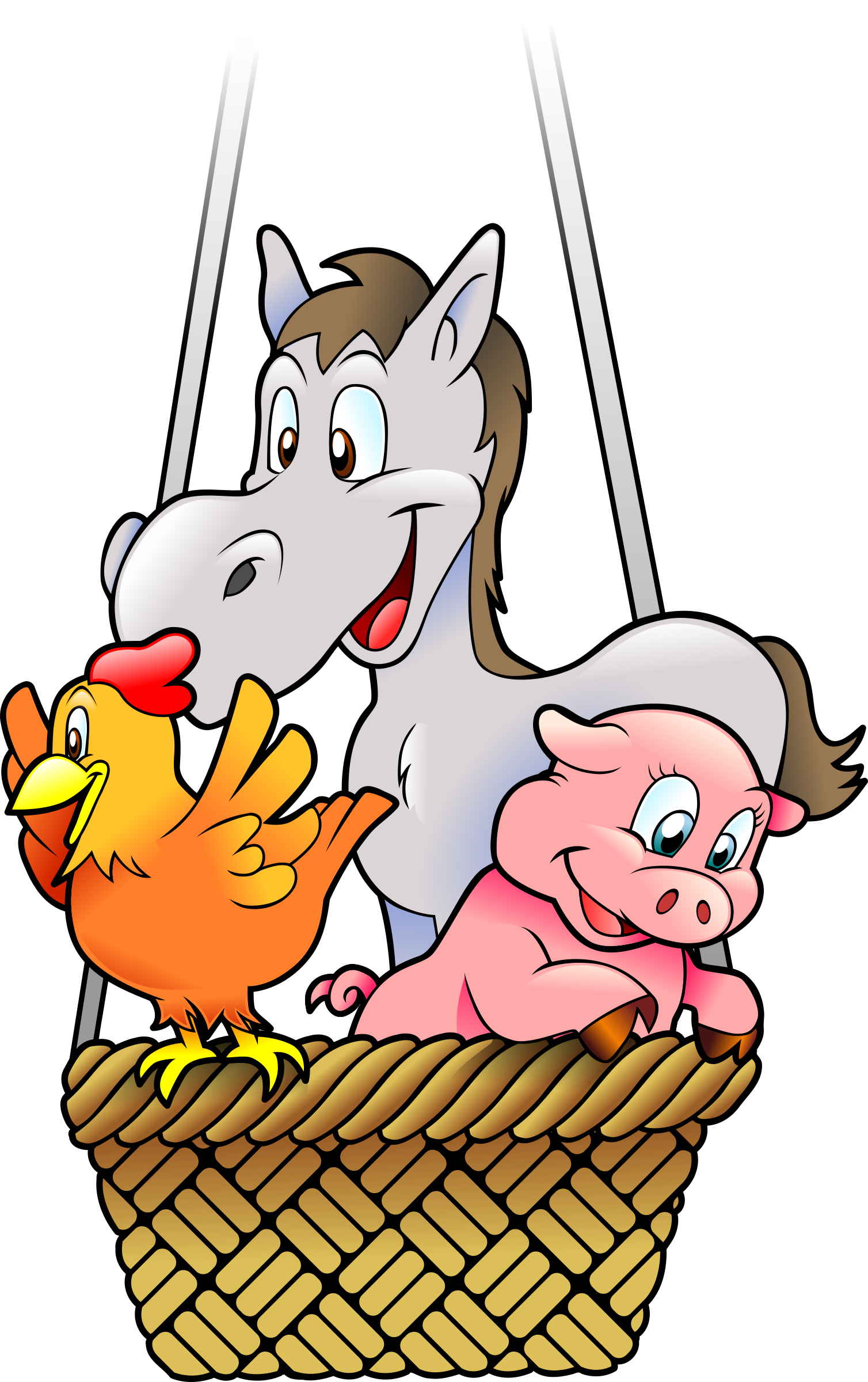 Farm's animals in a balloon by Schade